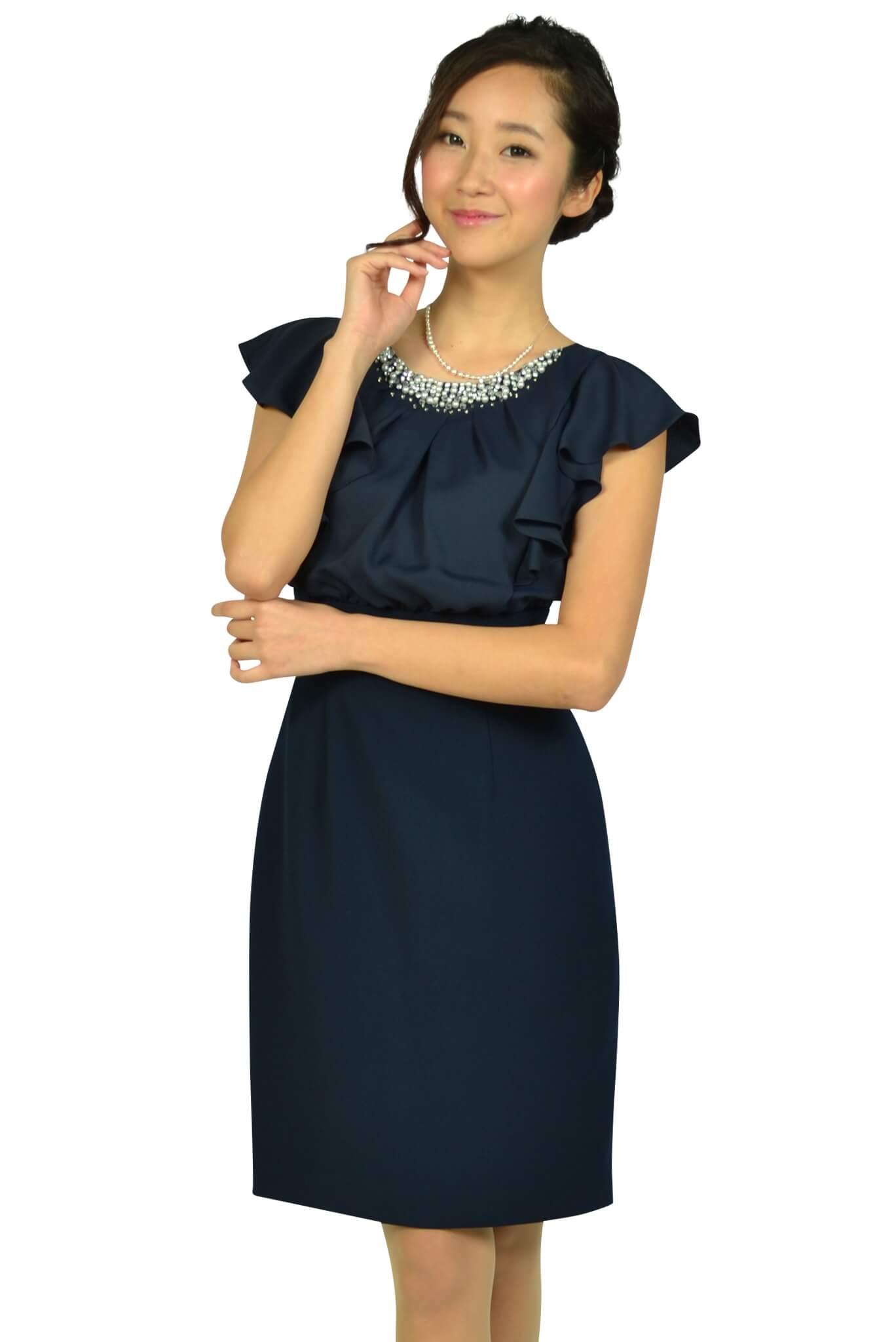 アプワイザー・リッシェ(Apuweiser-riche) ネックビジュタイトネイビードレス