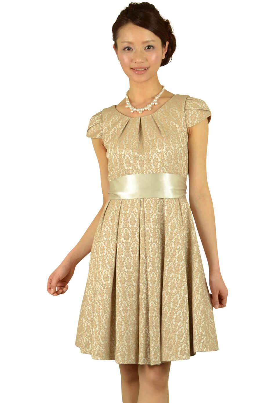 ラズベリーベレット (RASPBERRY BERET)ベージュジャガードドレス