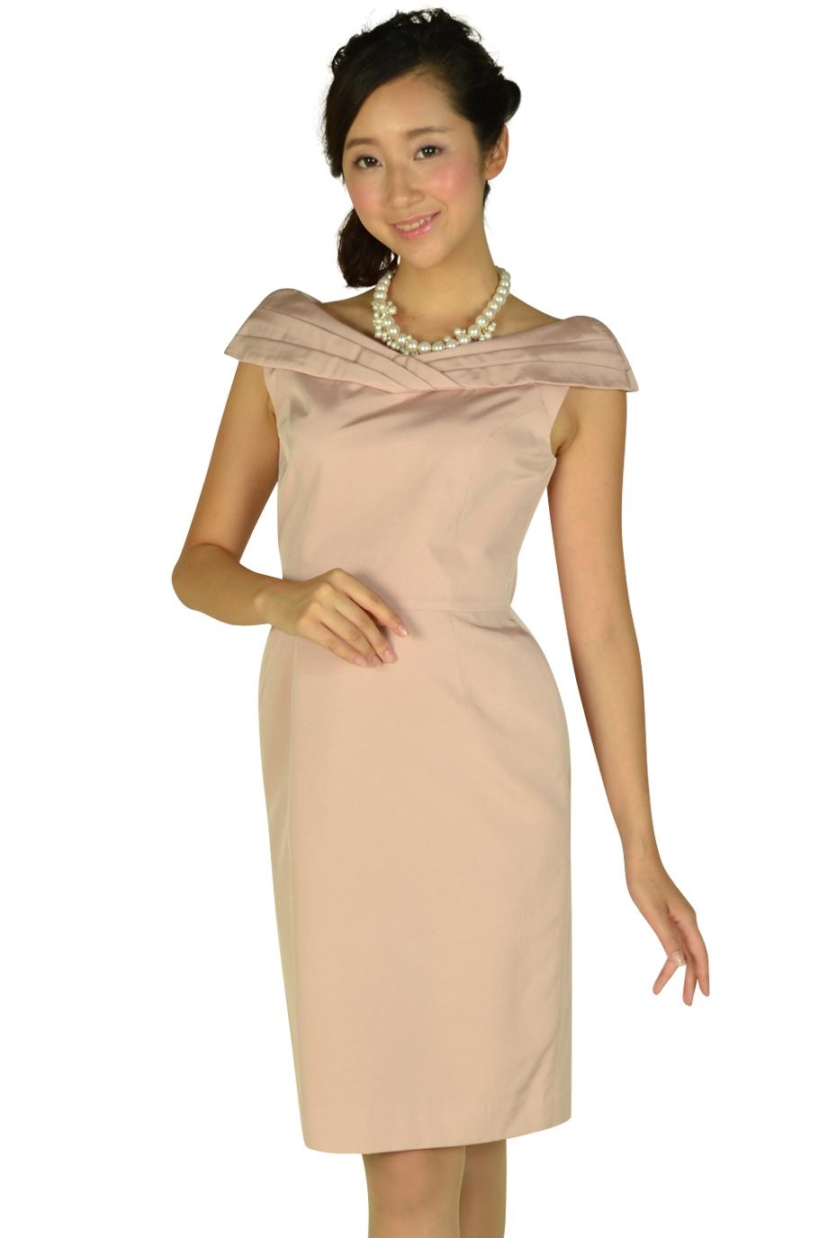 ジャスグリッティー (JUSGLITTY)オフショルダーピンクドレス