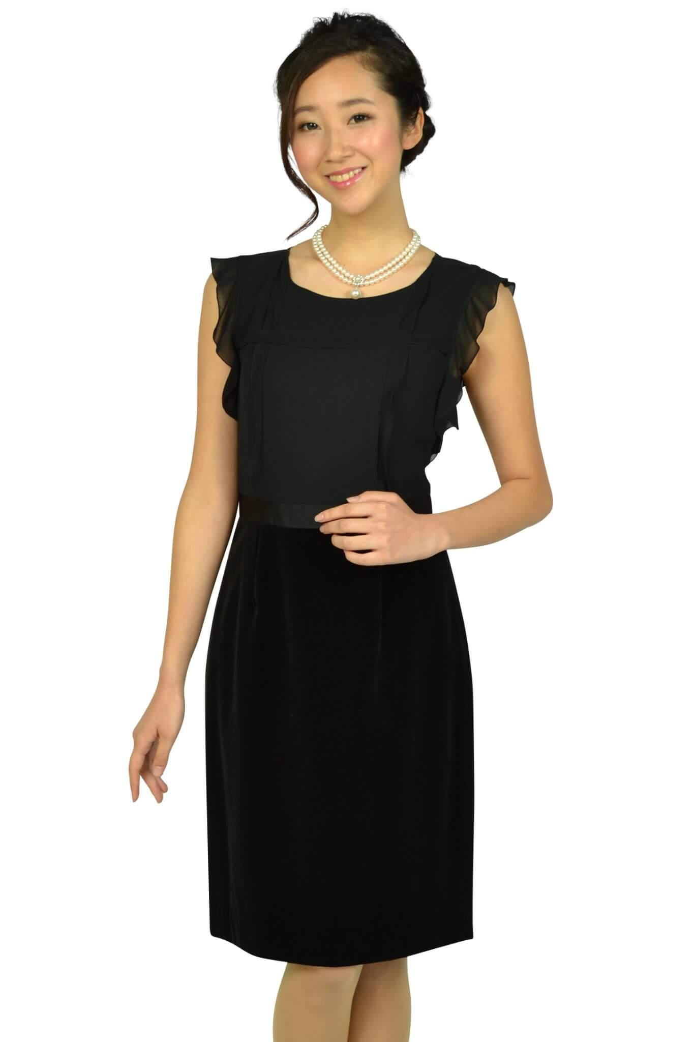 アナイ (ANAYI)Iラインベロアスカートブラックドレス