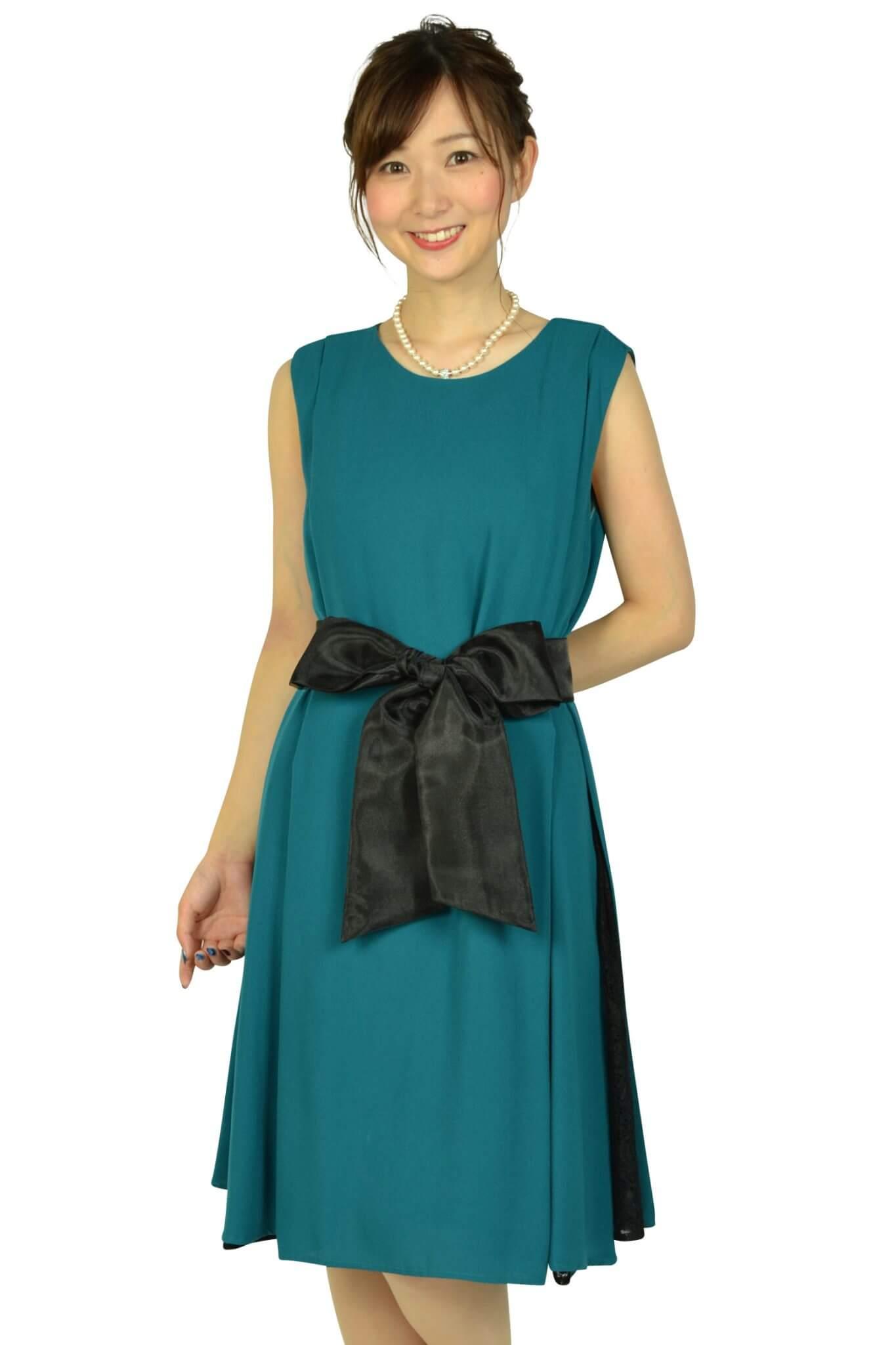 ビヲミナ (VIWOMINA)【授乳OK】ゆったりサイドレースグリーンドレス