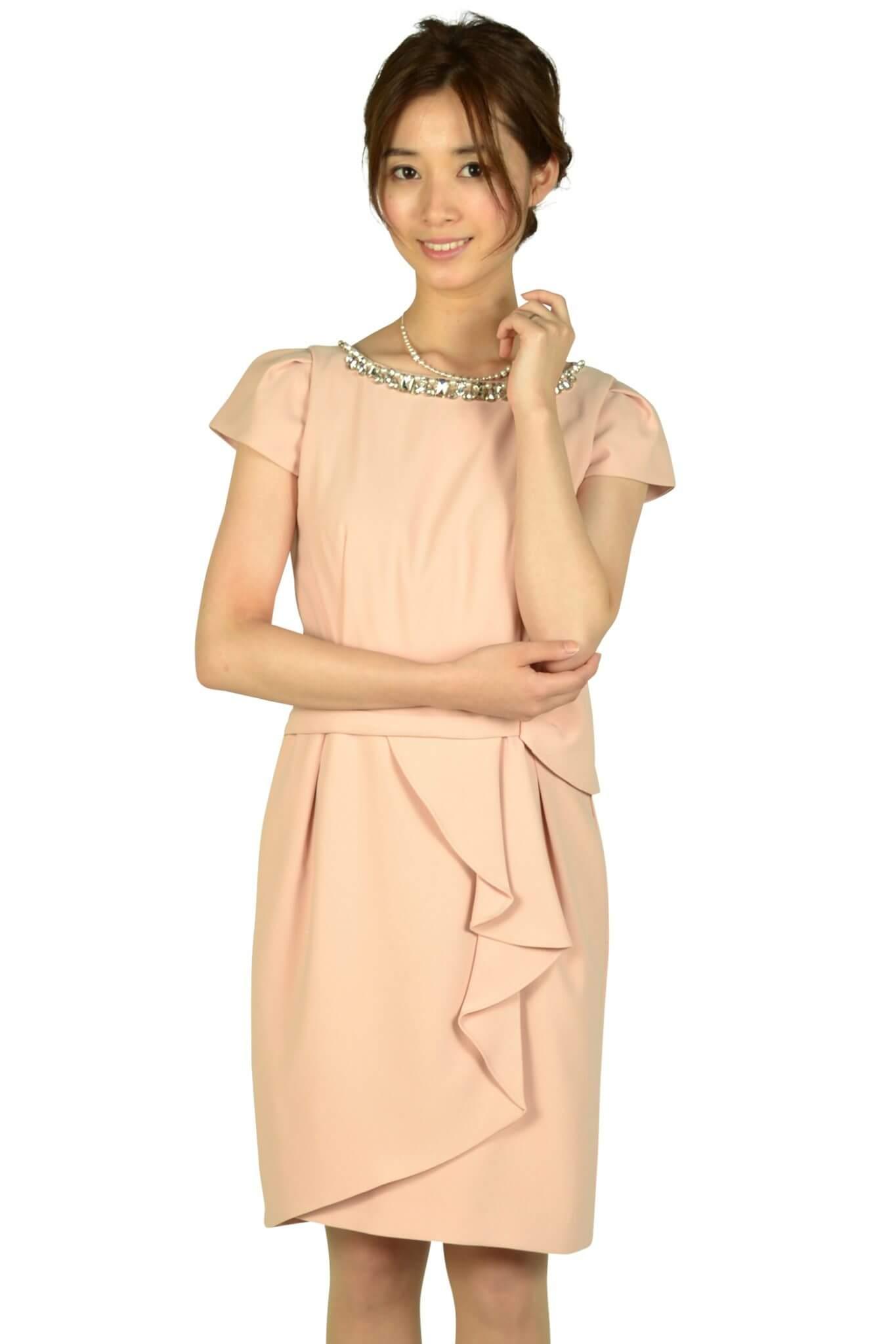 アプワイザー・リッシェ (Apuweiser-riche)ウエストタック袖付きピンクドレス