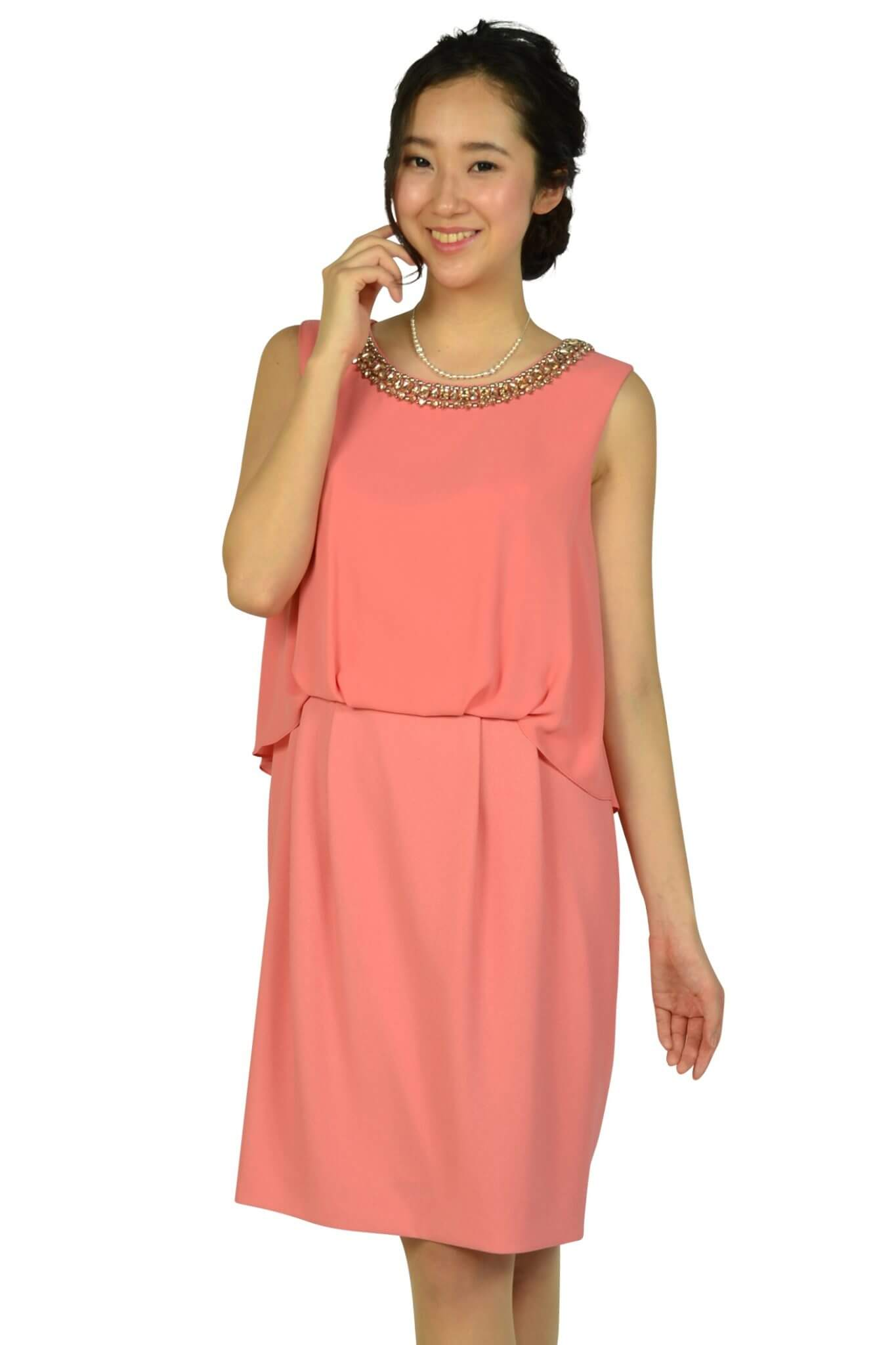 インディヴィ (INDIVI)シンプルビジュコーラルオレンジドレス