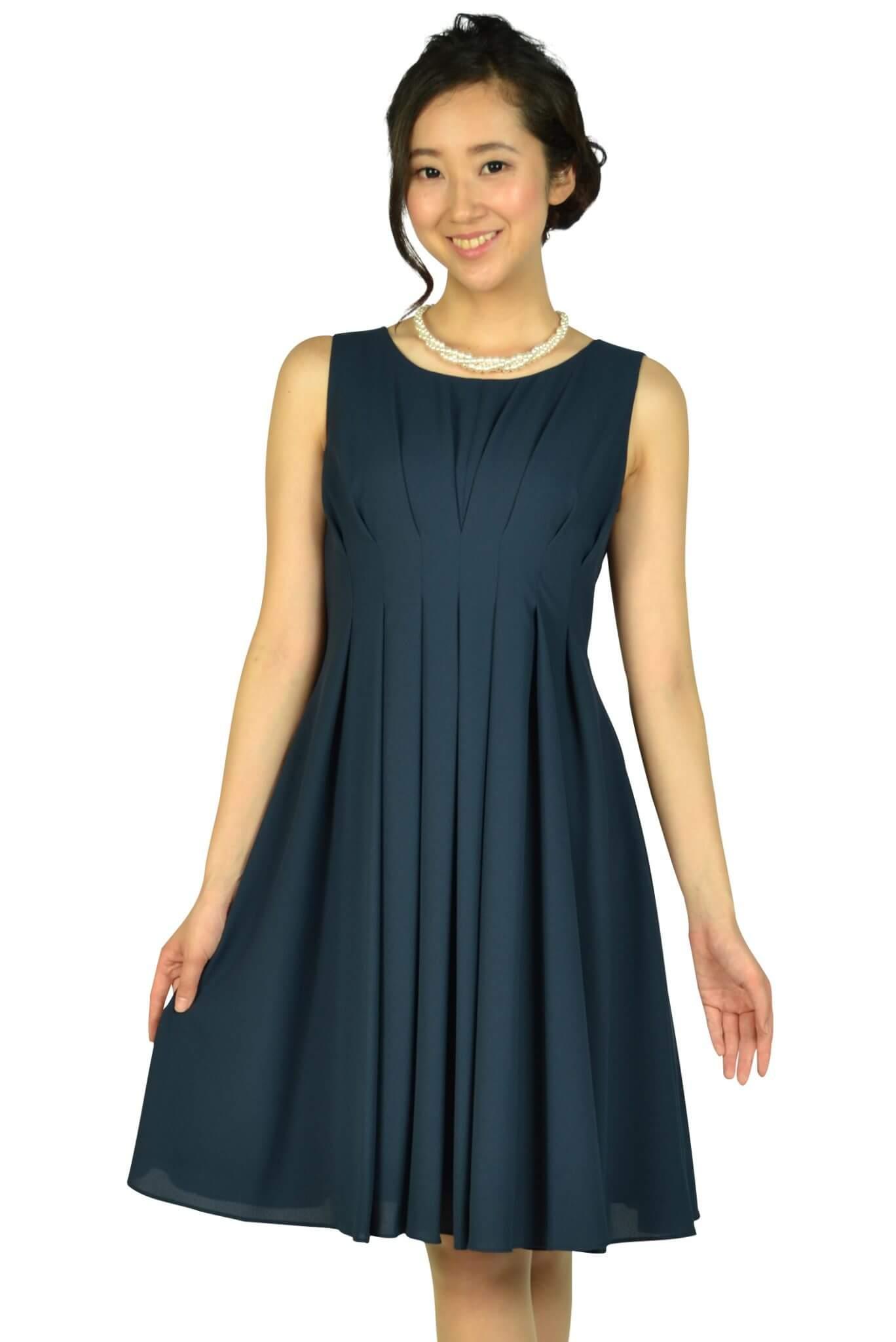 エニィスィス (anySiS)編み上げタックネイビードレス
