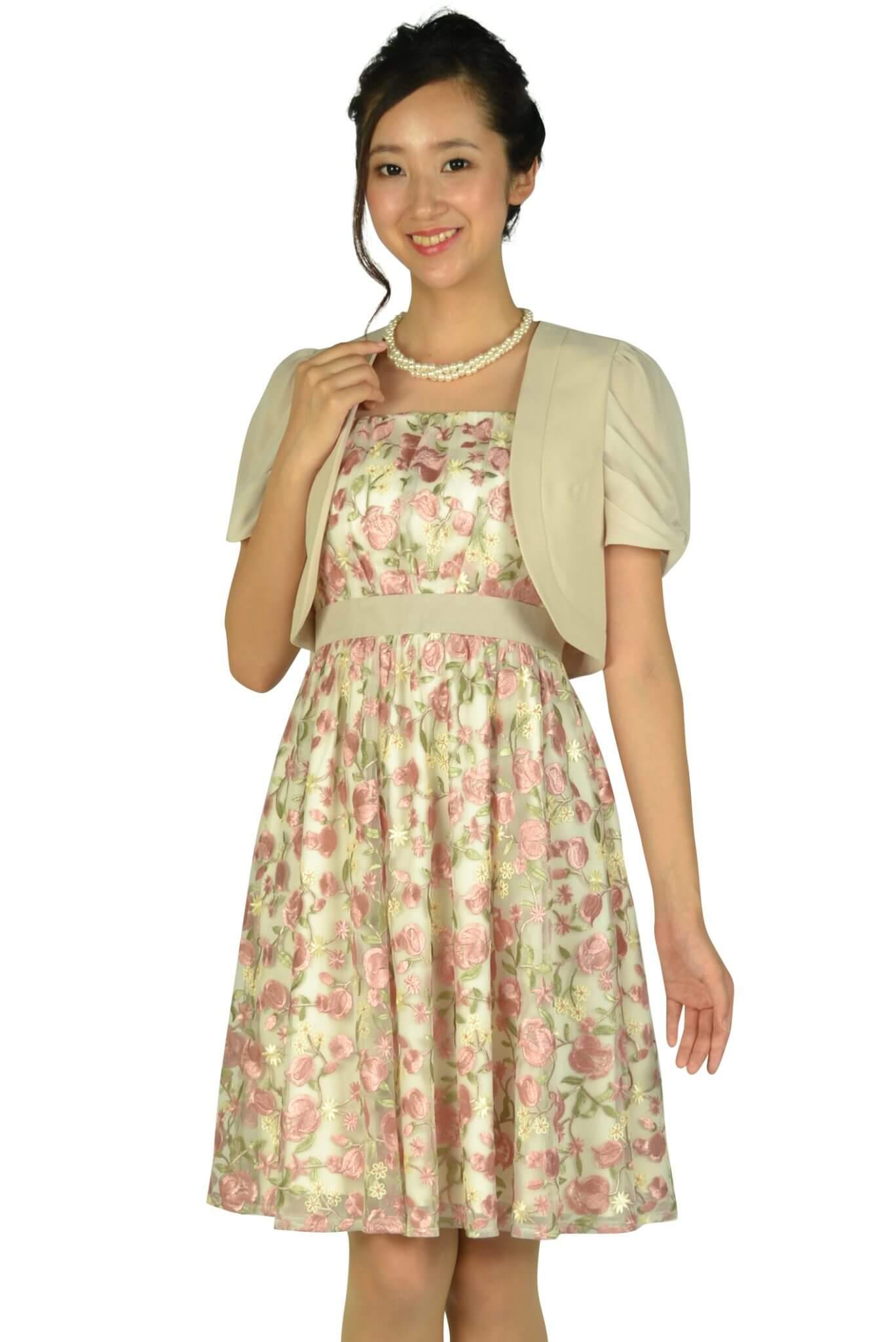 アプワイザー・リッシェ (Apuweiser-riche)フラワー総刺繍ピンクドレスセット