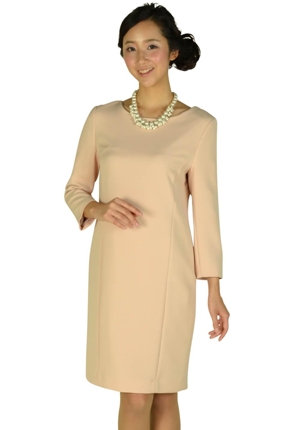 インディヴィ(INDIVI) シンプル7分袖ピンクドレス