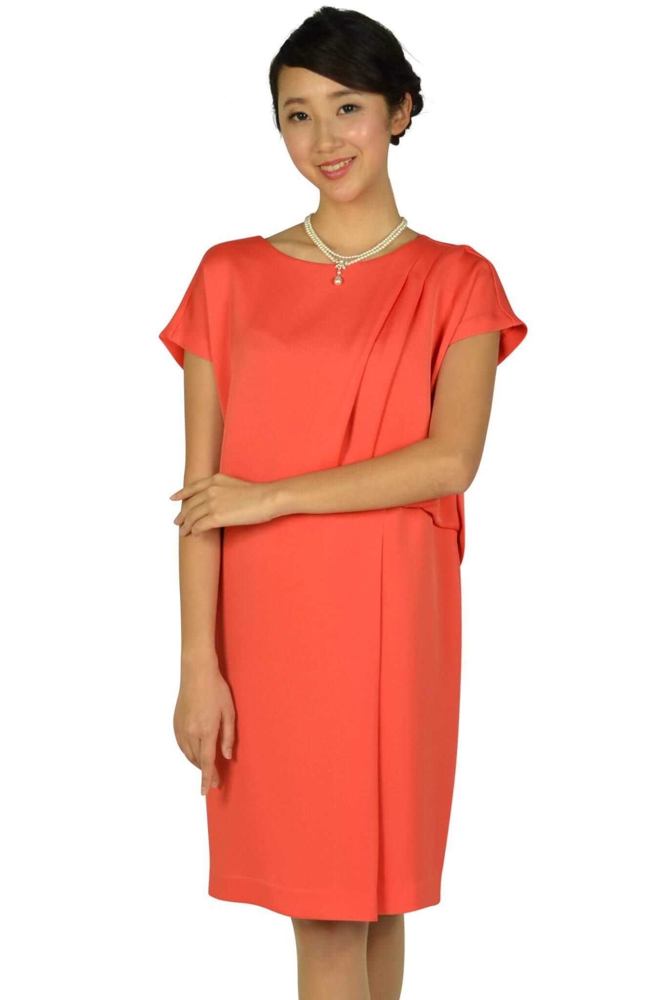 グレースクラス フレンチスリーブオレンジドレス