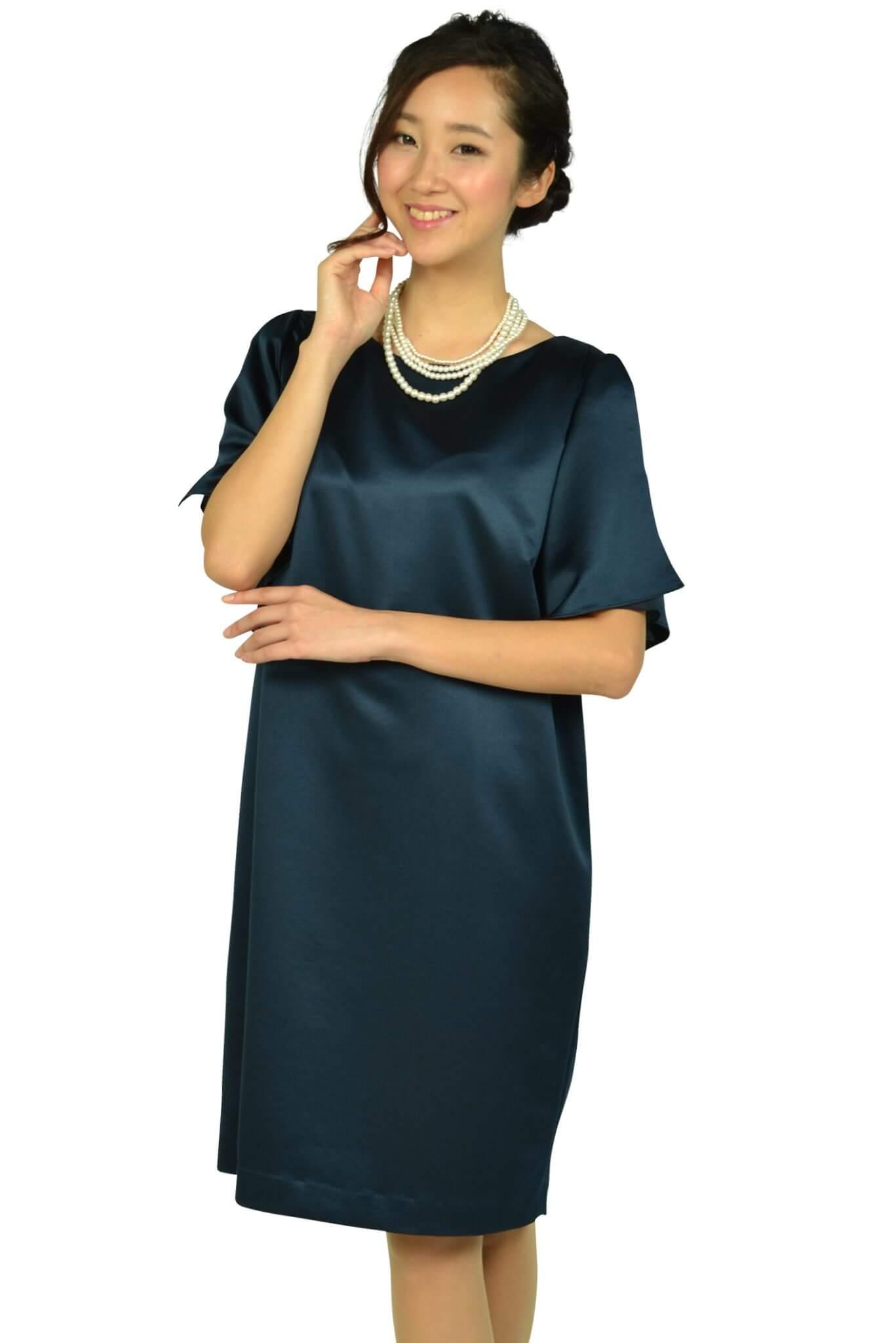アンタイトル(UNTITLED) 光沢ネイビーゆったりドレス