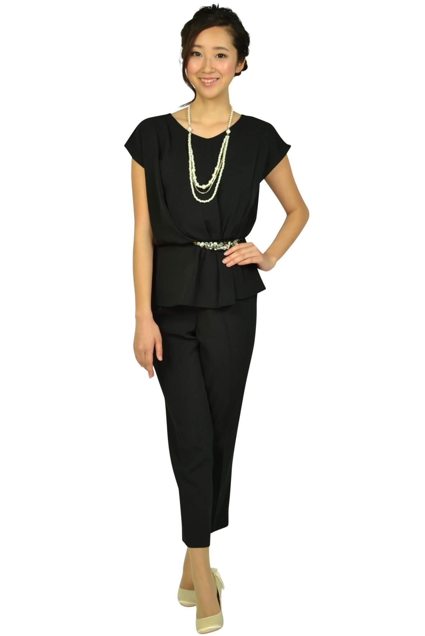アシール(ASHILL) ビジュぺプラムブラックパンツドレス