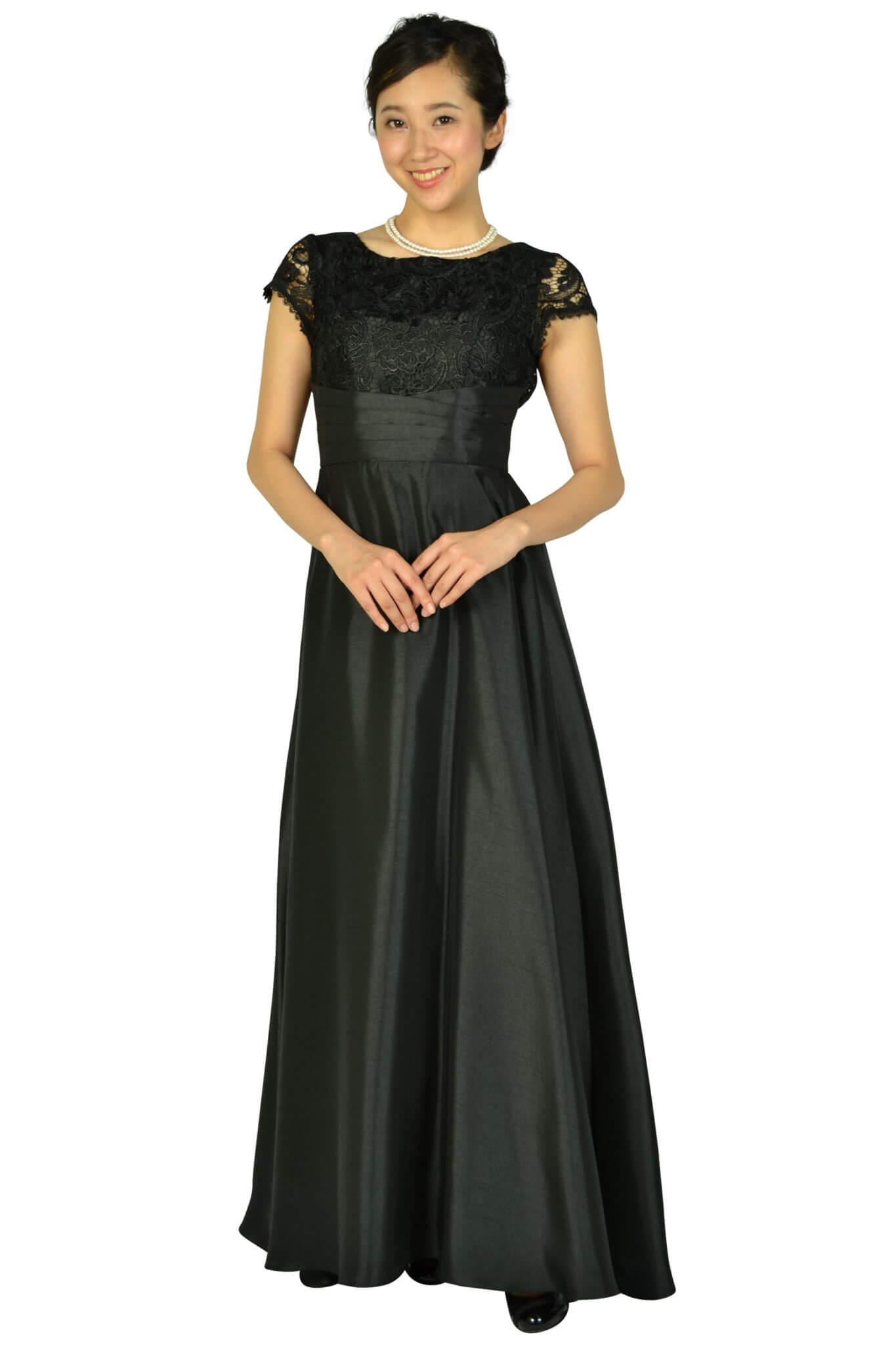 リュクス グレース(LUXE GRACE) パニエ付きエレガントブラックロングドレス