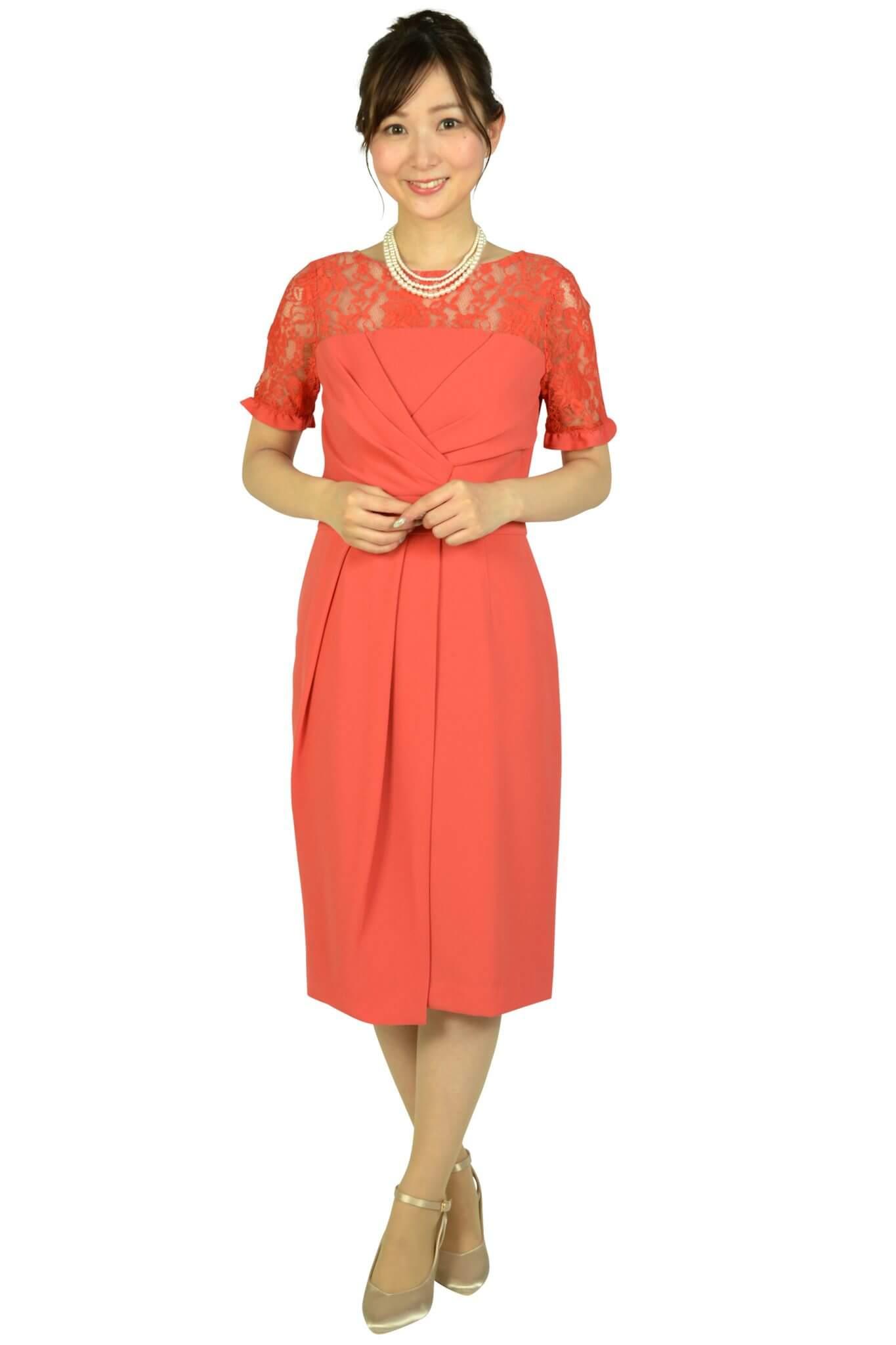 グレースコンチネンタル (GRACE CONTINENTAL)レースカシュクールコーラルオレンジドレス