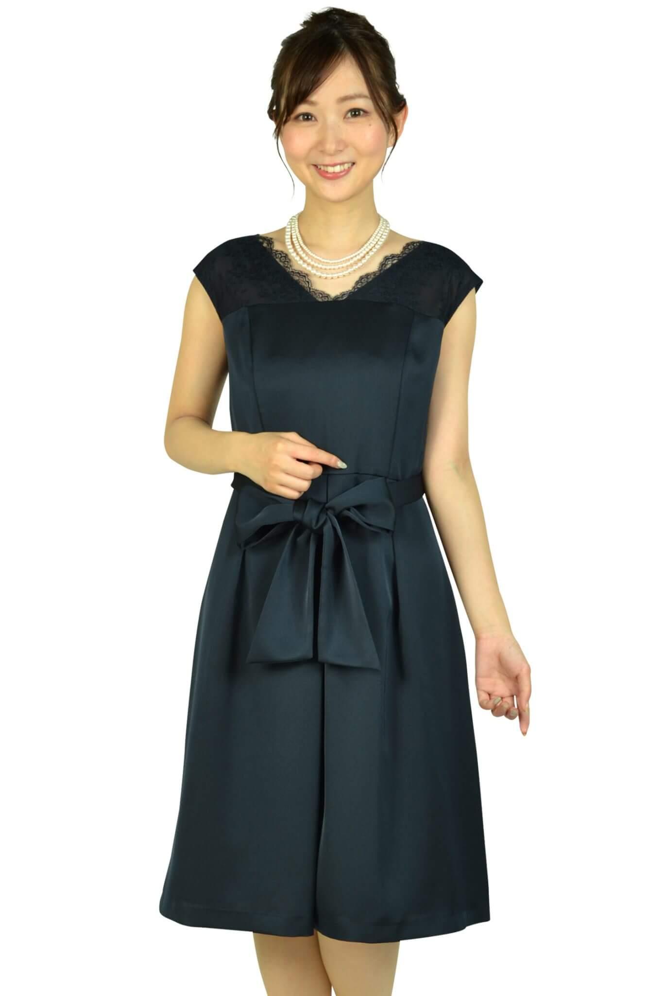 エニィスィス(anySiS) Vネックレースネイビードレス
