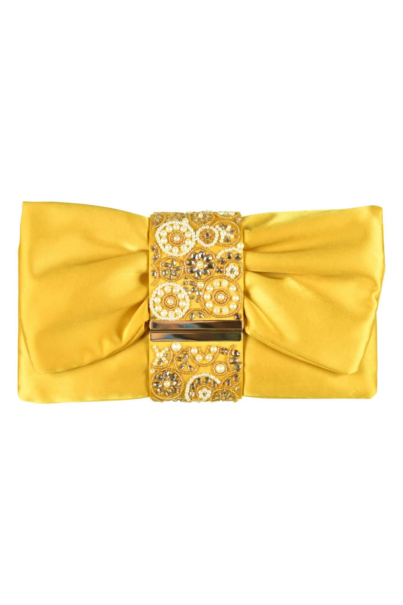 エルモソ リュクス (ermoso luxe)デザインビジュマスタードクラッチバッグ