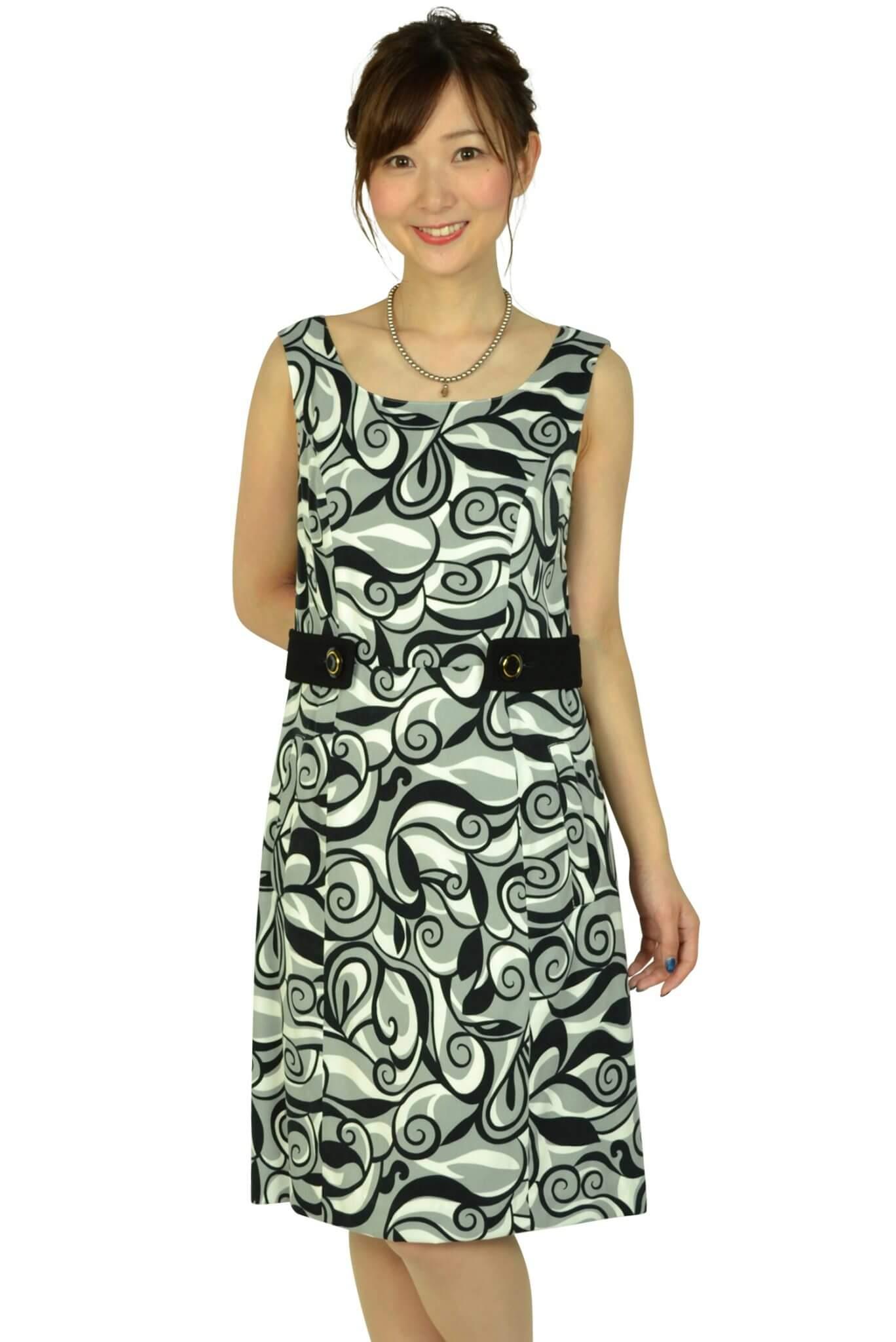 クイーンズ コート(QUEENS COURT) ブラック幾何学柄ドレス
