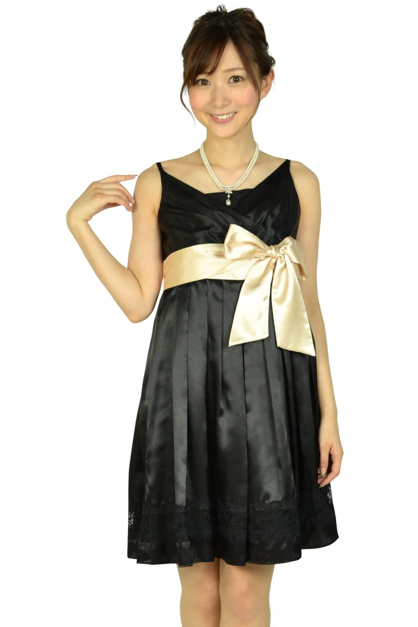 アシール(ASHILL) ブラック光沢ウエストリボンドレス
