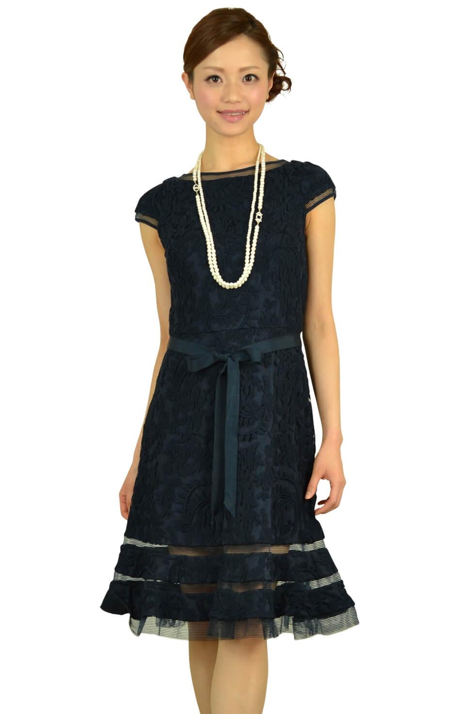 アドリアナパペル (Adrianna Papell)ネイビーミニ袖柄ドレス