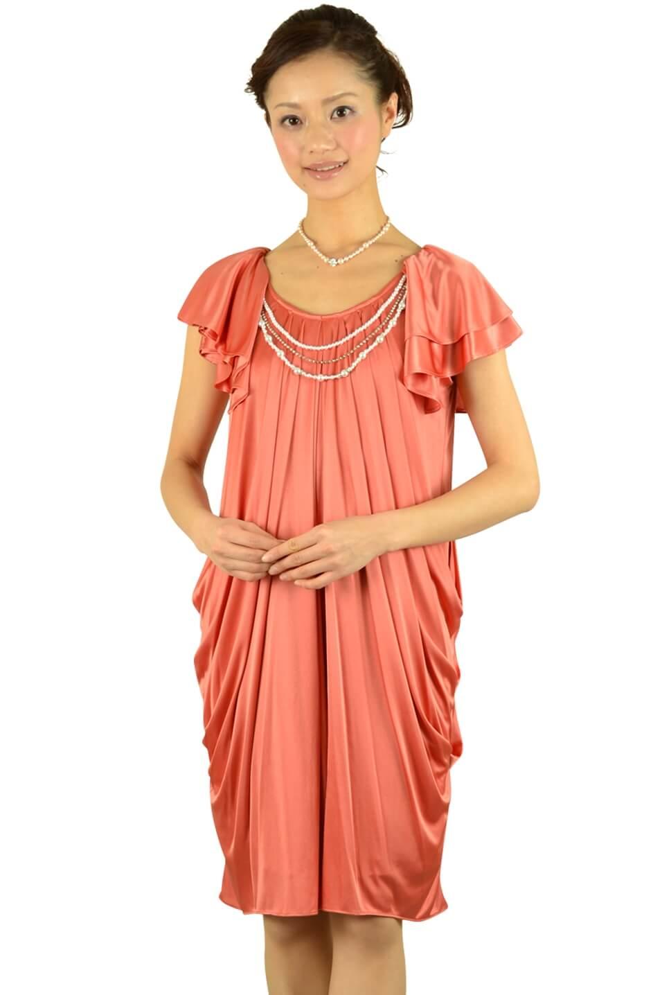 デリセノアール(DELLISE NOIR) オレンジミニ袖ドレス