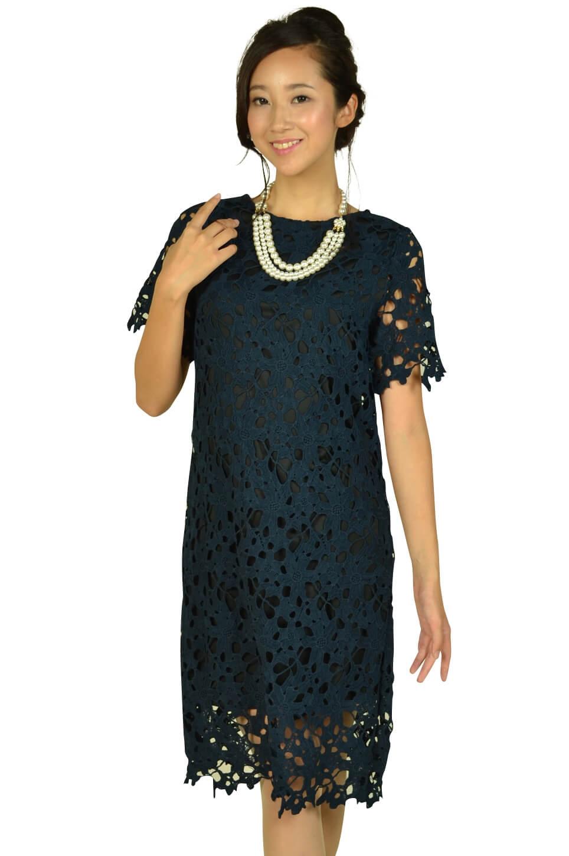 リトルブラックドレス (LITTLE BLACK DRESS)カッティング総レースネイビードレス
