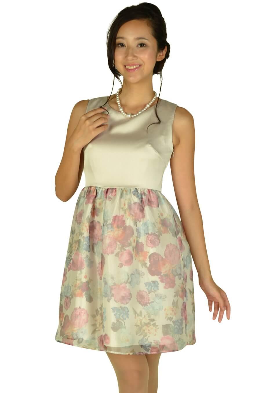 クチュールブローチ (Couture Brooch)フラワープリントシャンパンドレス