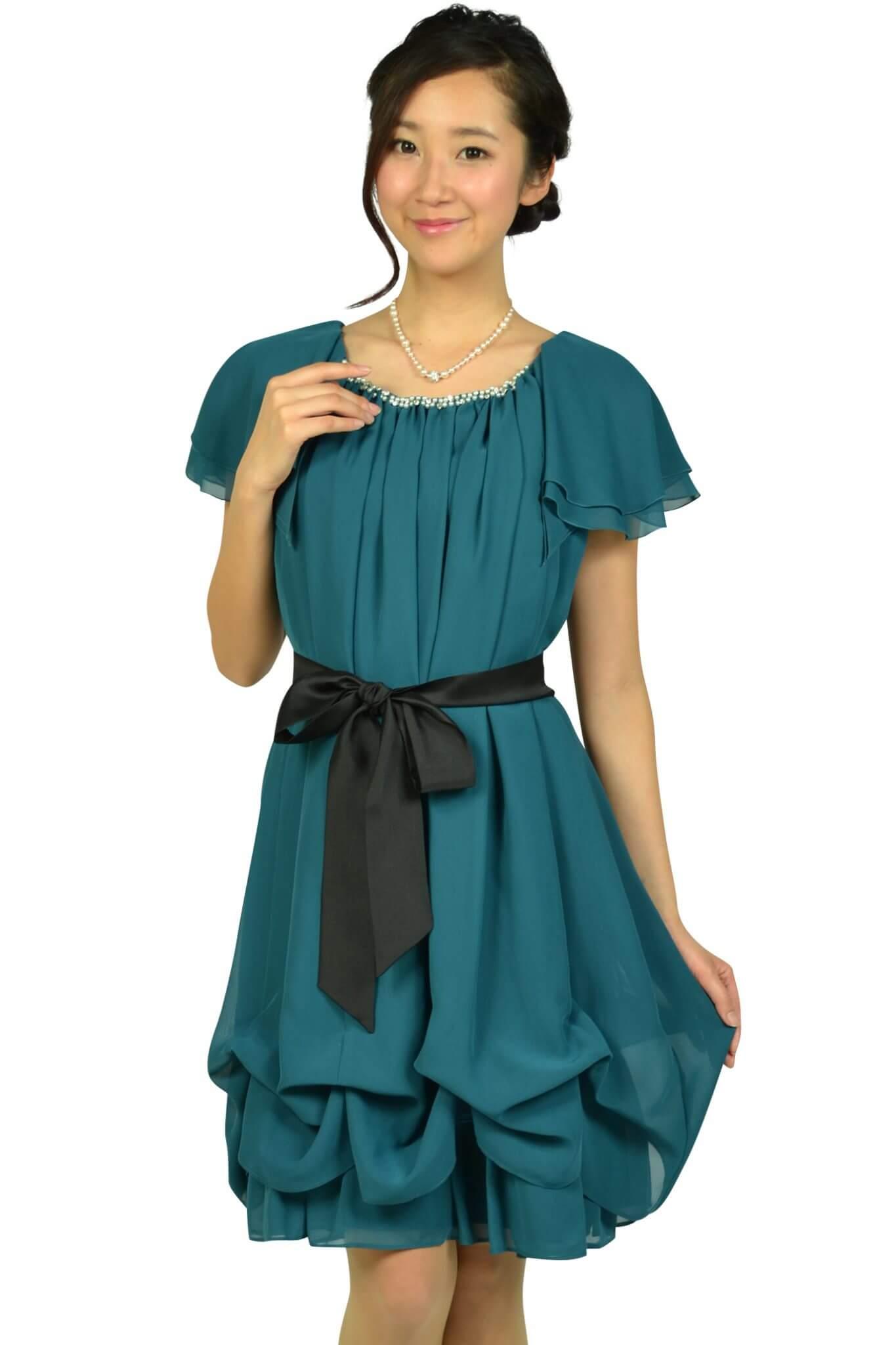 デリセノアール (DELLISE NOIR)ゆったりAラインブルーグリーンドレス