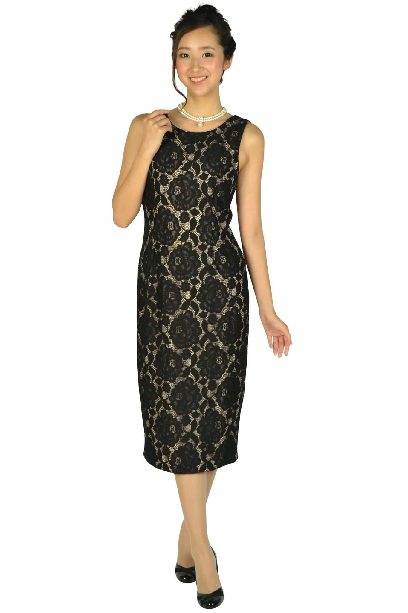 イヴァンカ トランプ (IVANKA TRUMP)ブラック×ベージュミディタイトドレス