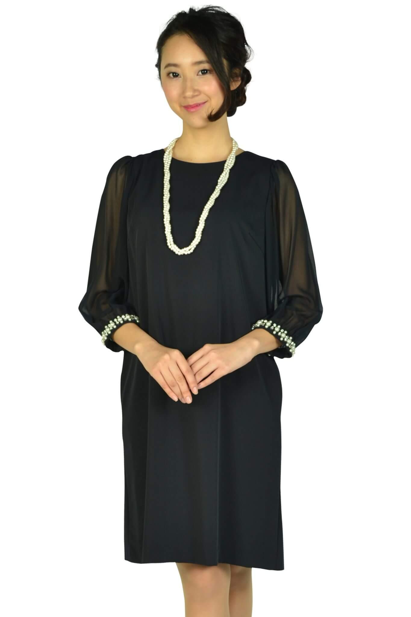 アティラントーレ (Attirantore)シースルー袖濃紺ドレス