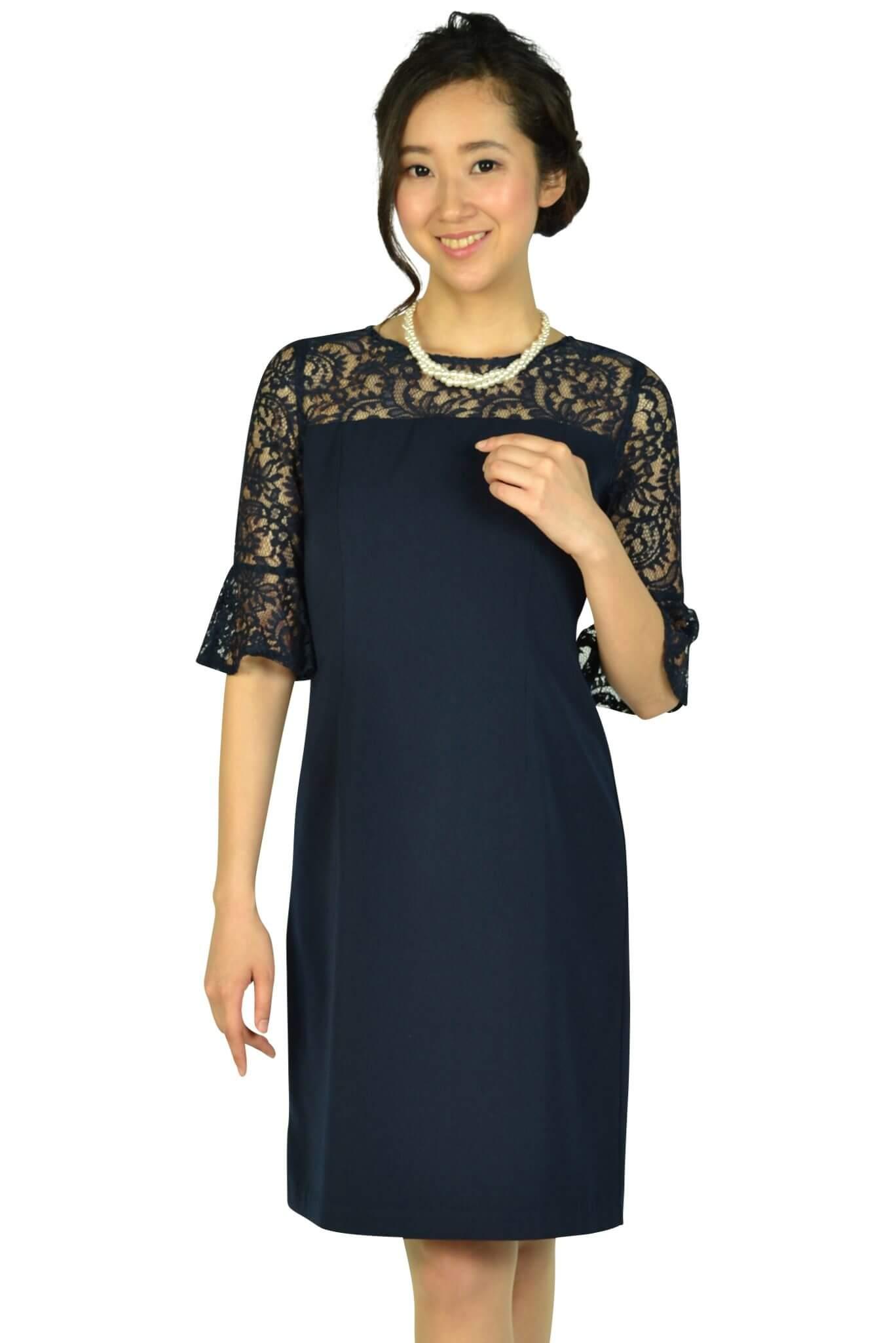 アグレアーブル (Agreable)袖&胸元シースルーレースネイビードレス