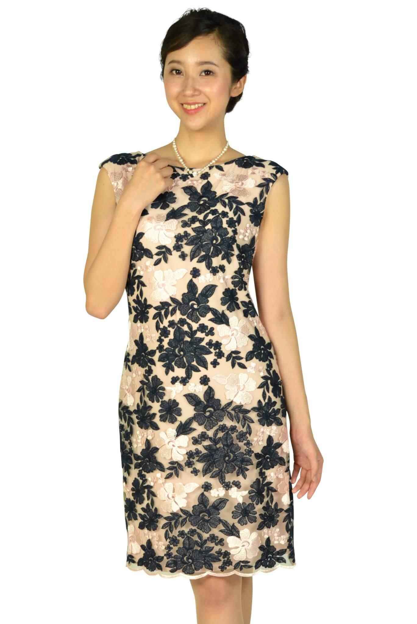 ラルフローレン (Ralph Lauren)フラワー刺繍ネイビー×ピンクドレス