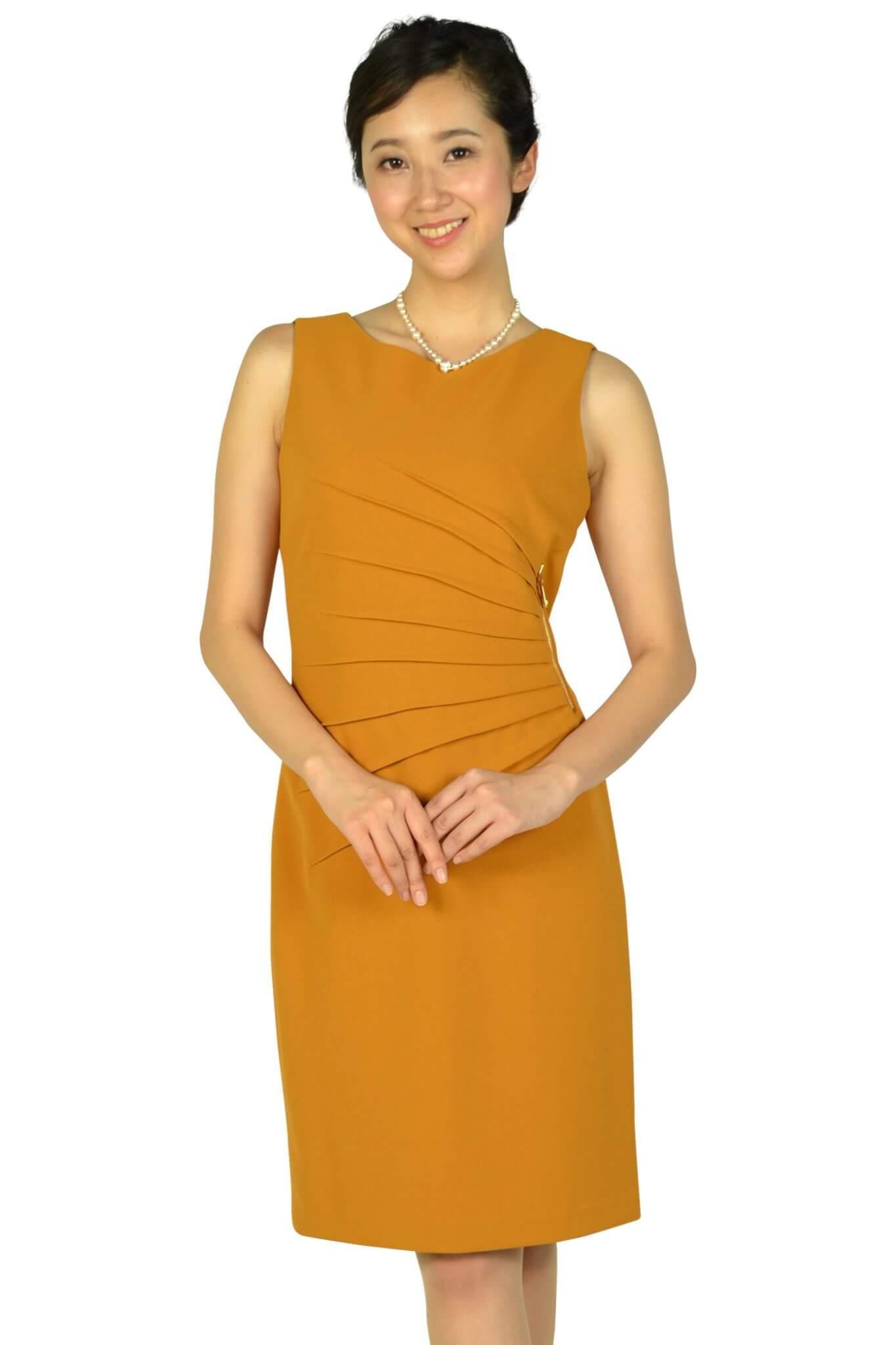イヴァンカ トランプ (IVANKA TRUMP)ウエストタック&ファスナーマスタードドレス