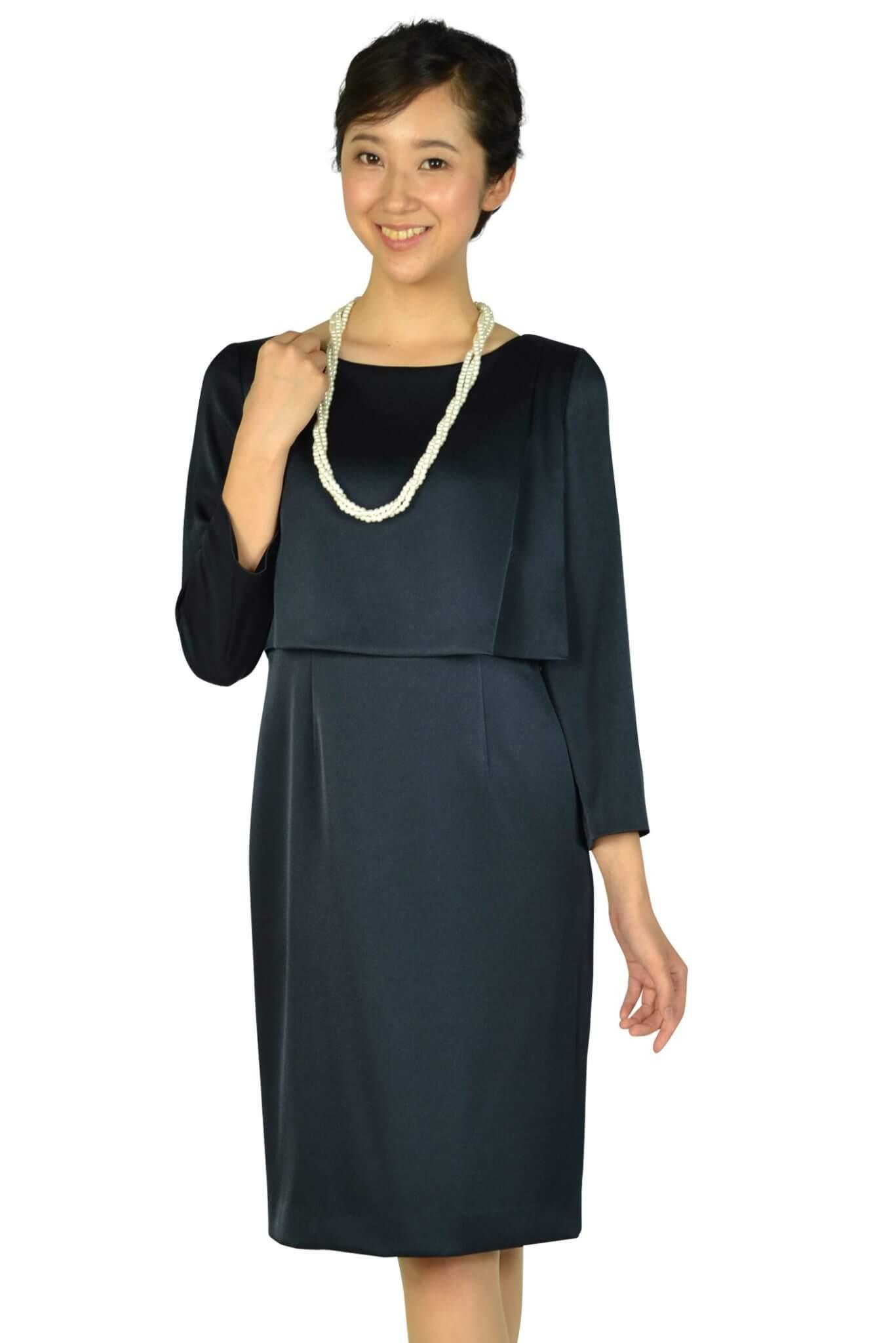 ユナイテッドアローズ (UNITED ARROWS)袖あり光沢シンプルネイビードレス