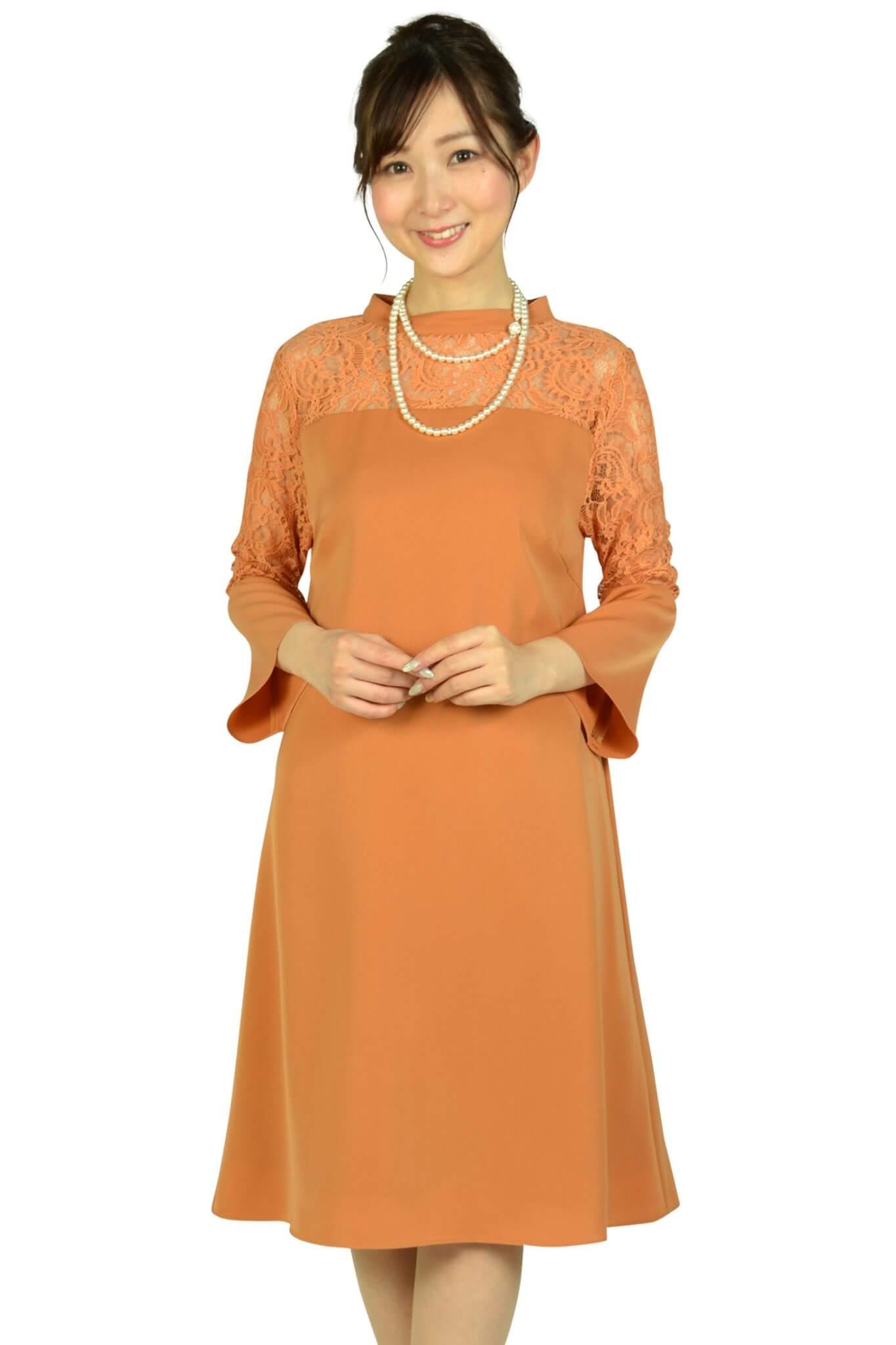 ドーリードール (Dorry Doll)ベル袖テラコッタオレンジドレス