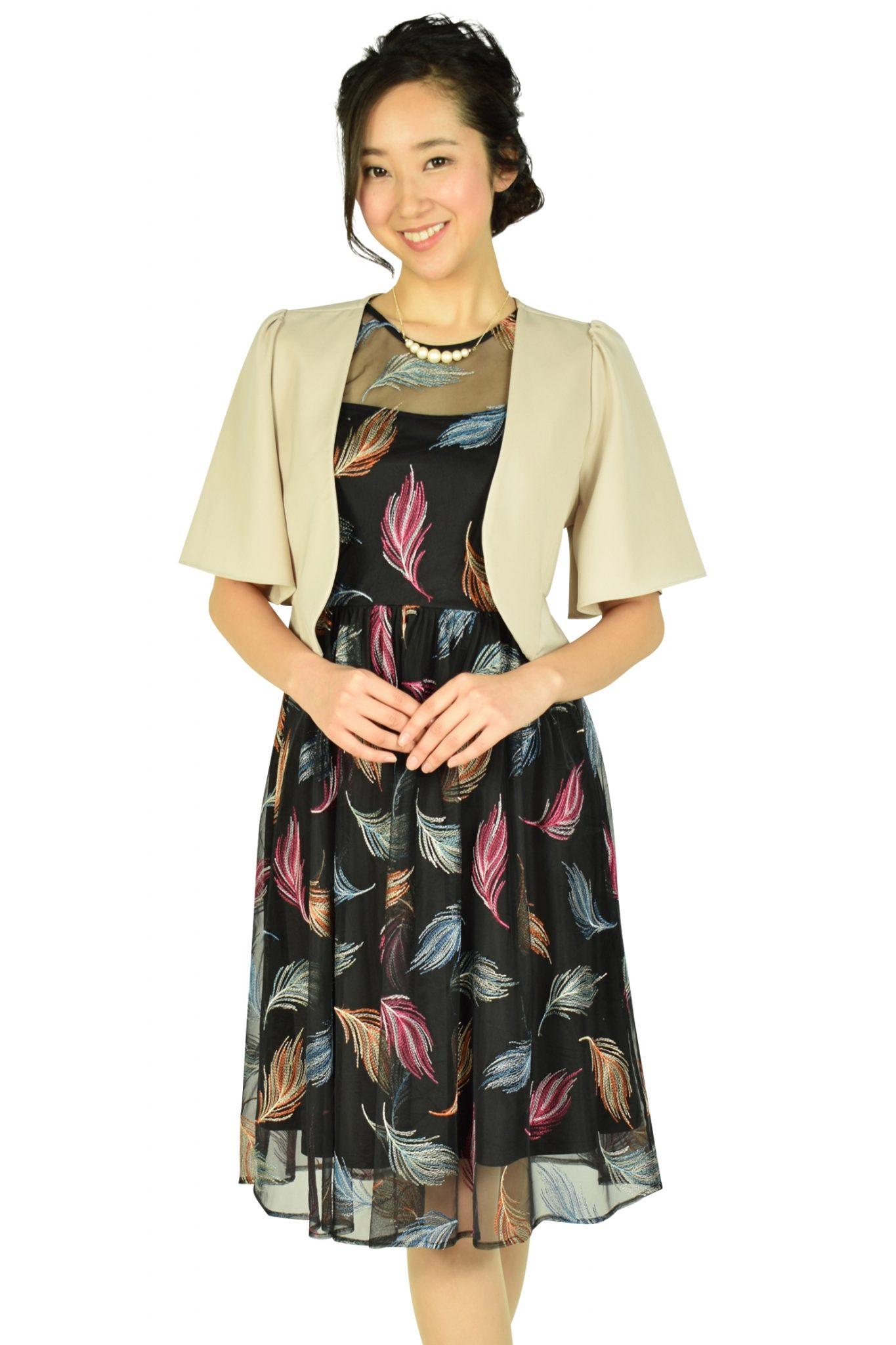 カルバンクライン (Calvin Klein)マルチ羽刺繍ブラックドレスセット