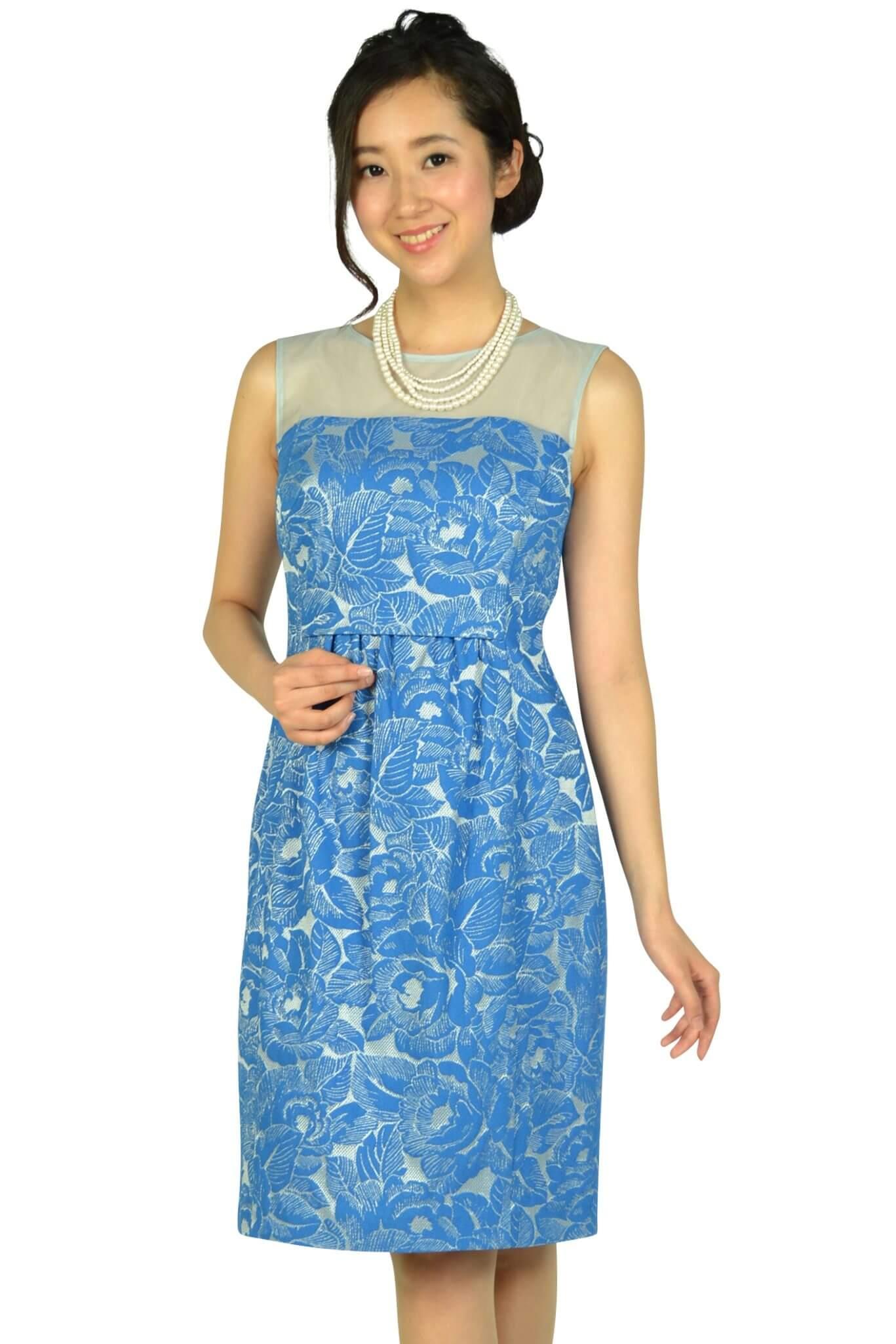 プリフェレンスパーティーズ (PREFERENCE PARTY'S)フラワー刺繍ブルードレス