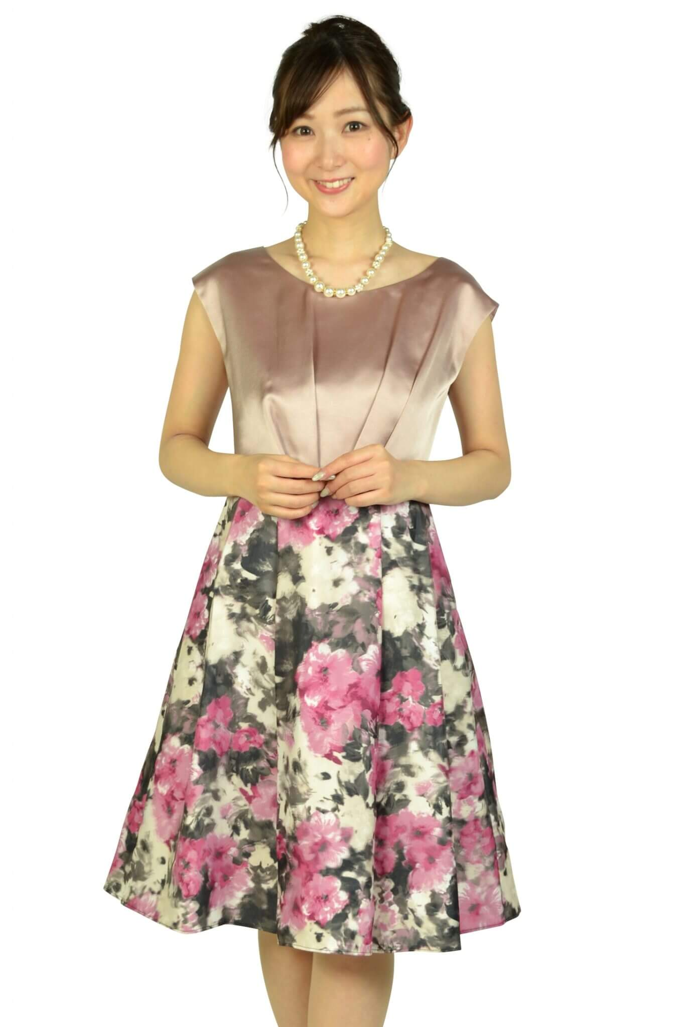 アグレアーブル (Agreable)編上げフラワープリントピンクドレス