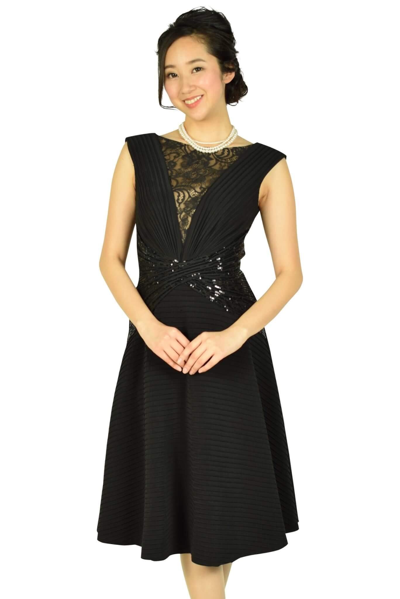 タダシ・ショージ (Tadashi Shoji)エレガントフレアスカートブラックドレス