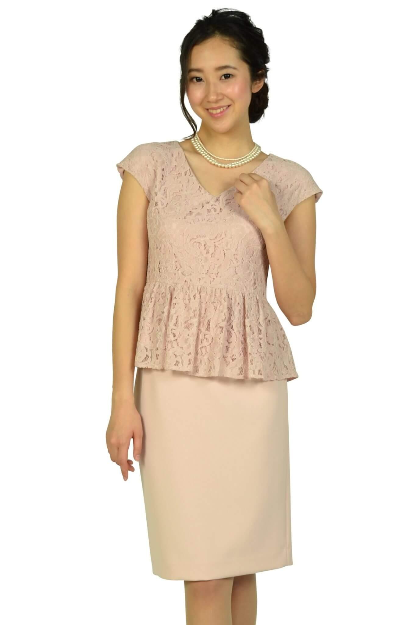 シップス (SHIPS)レーストップスIラインピンクドレス