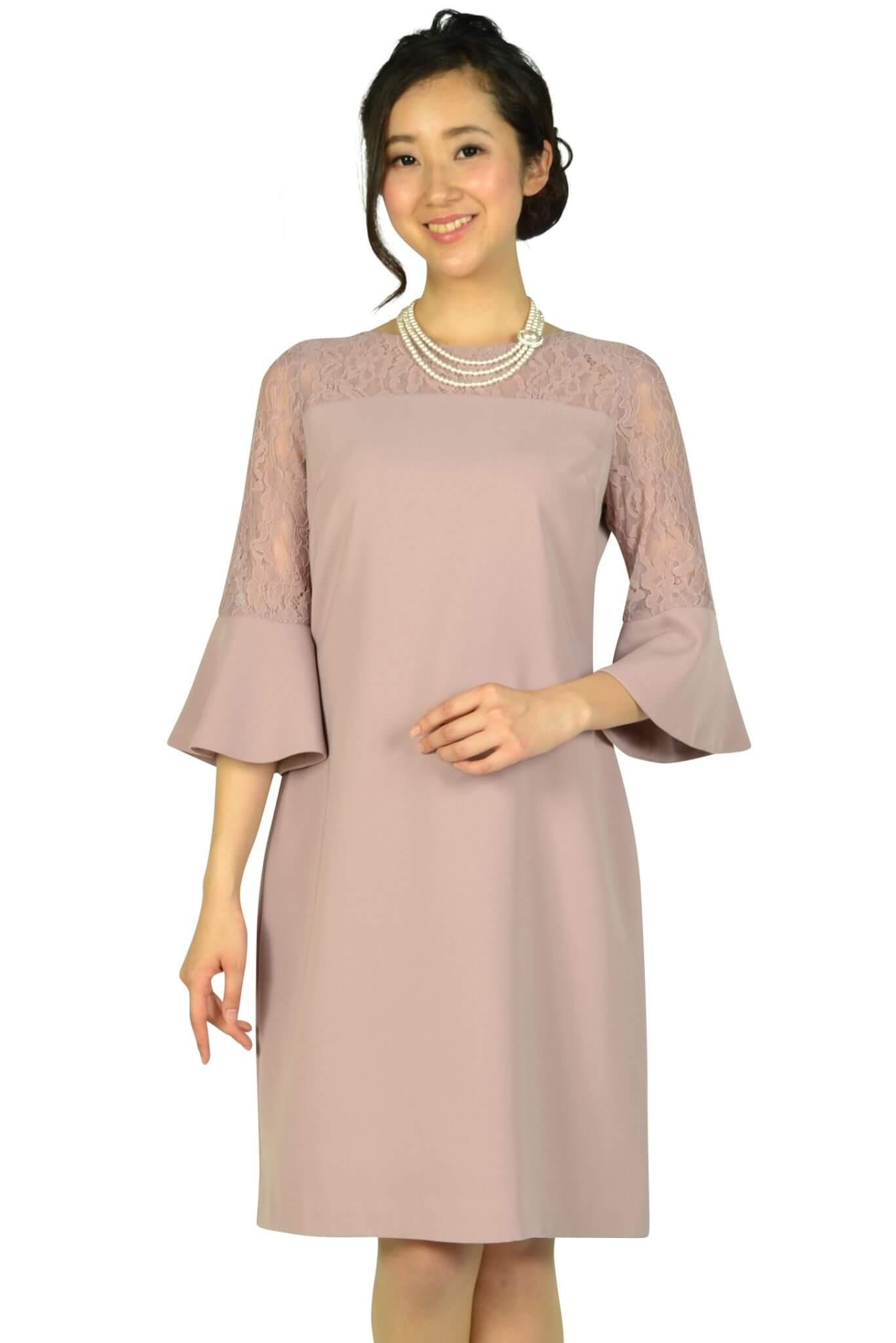 エルモソ リュクス (Hermoso luxe)異素材ベル袖ピンクドレス