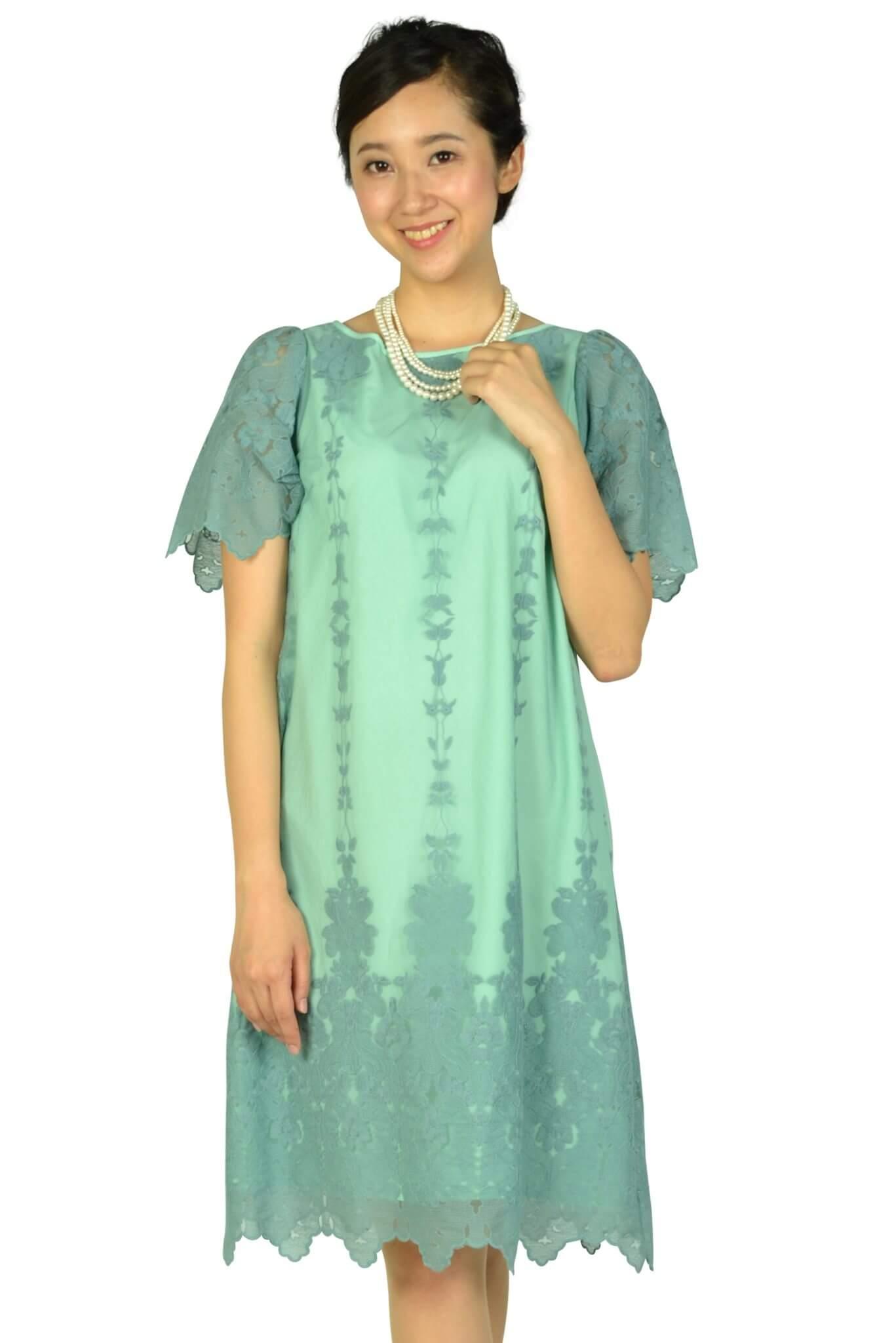 アナトリエ (anatelier)袖ありフラワー刺繍ミントグリーンドレス