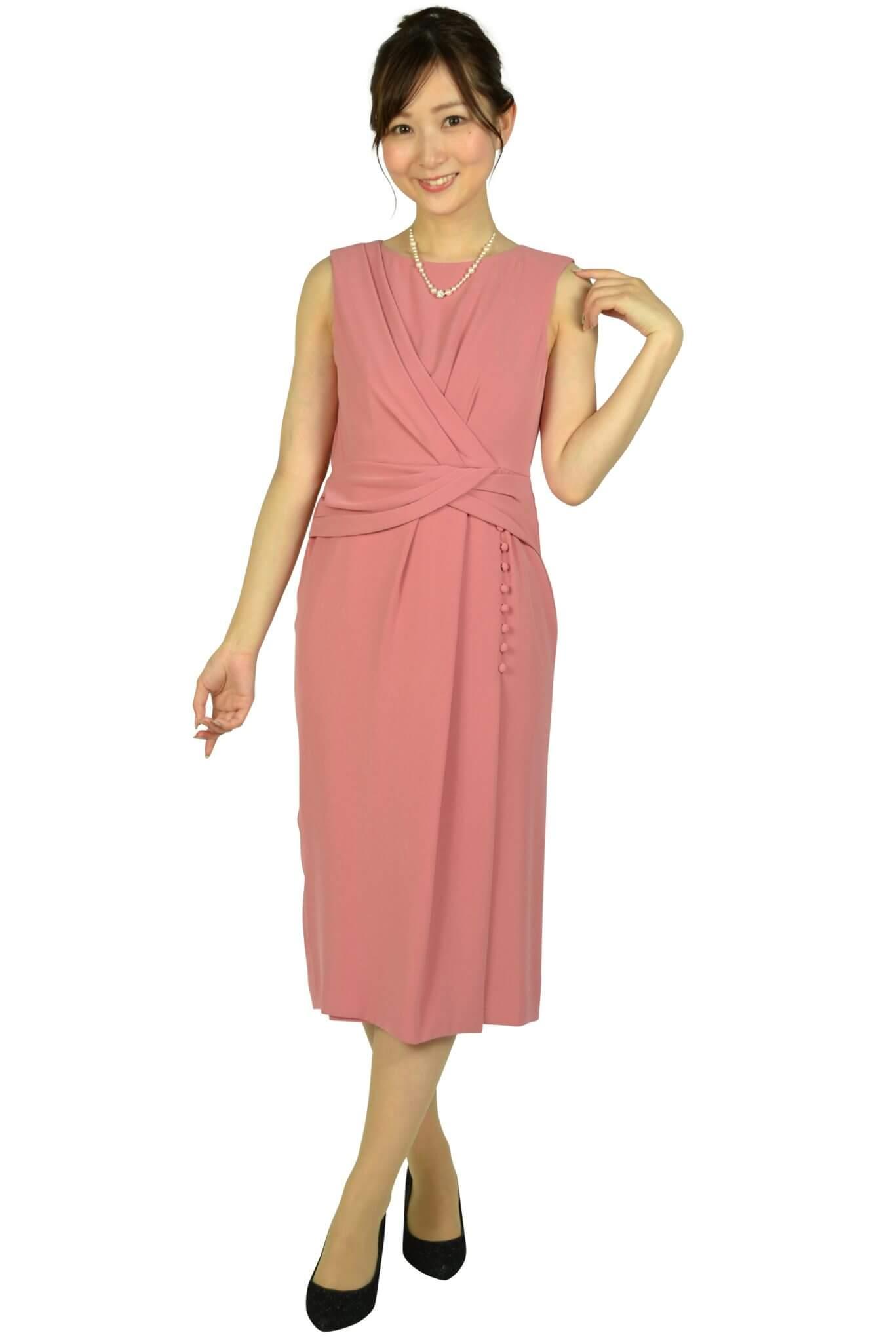 ダイアグラム グレースコンチネンタル(DIAGRAM) アシンメトリータックローズピンクドレス