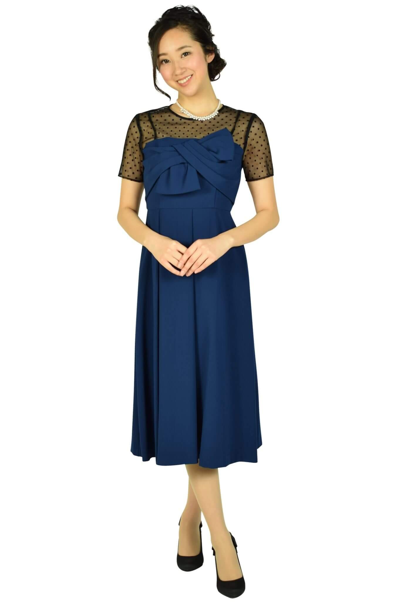 ダイアグラム グレースコンチネンタル(DIAGRAM) 袖付きドットレースネイビードレス