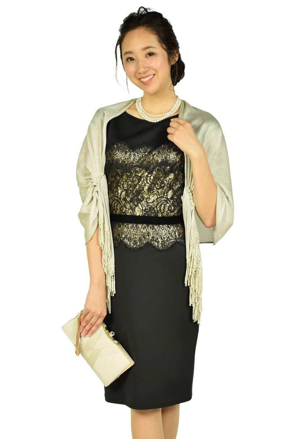タダシ・ショージ(Tadashi Shoji) エレガントブラック×ゴールドタイトドレス