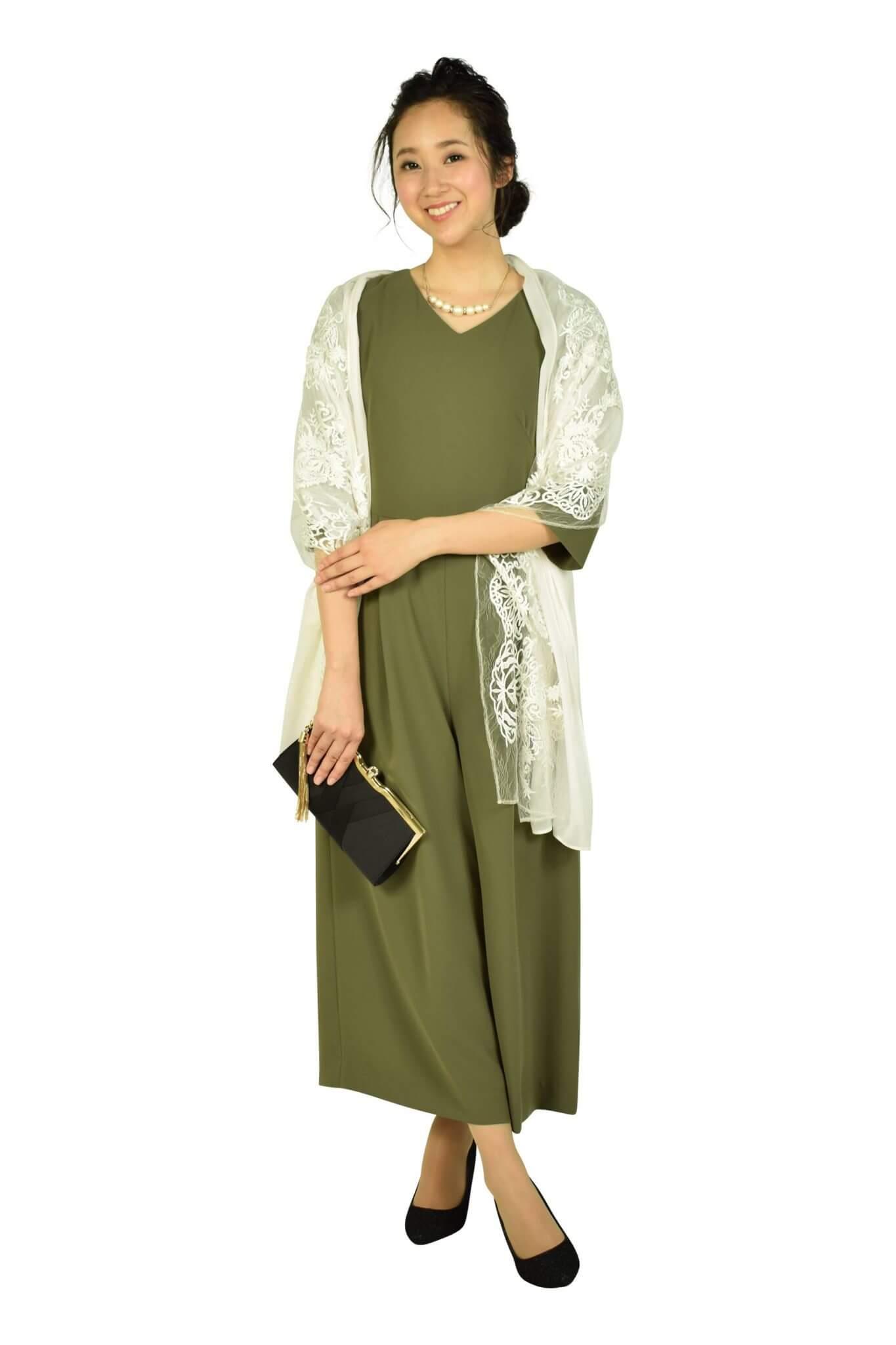 エメ 6分袖カーキワイドパンツドレス