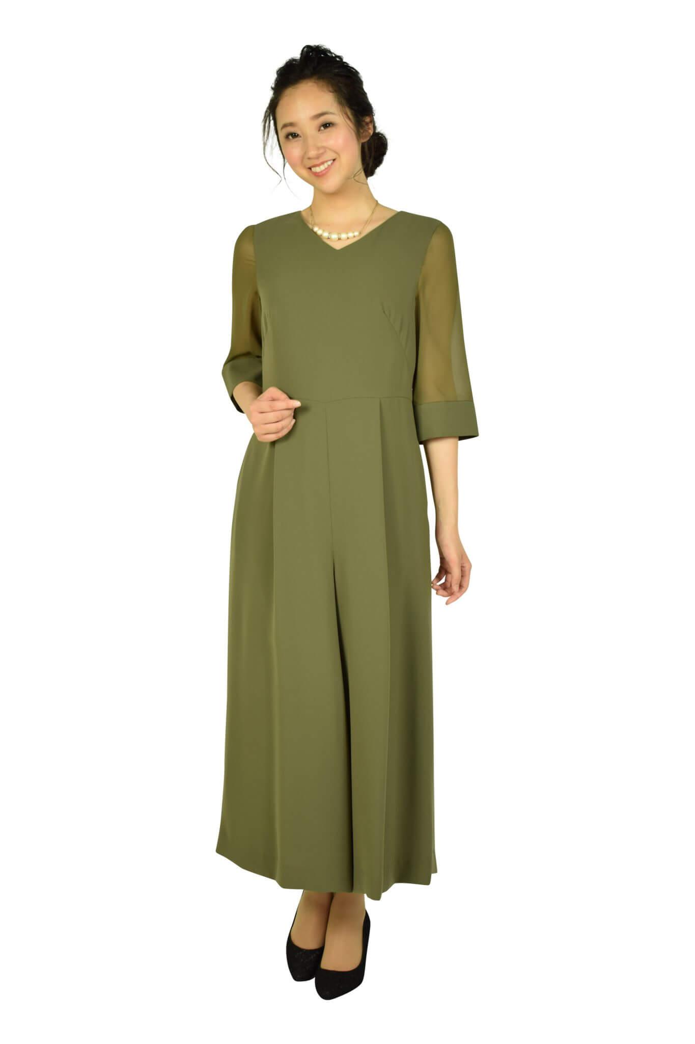 エメ(AIMER)6分袖カーキワイドパンツドレス