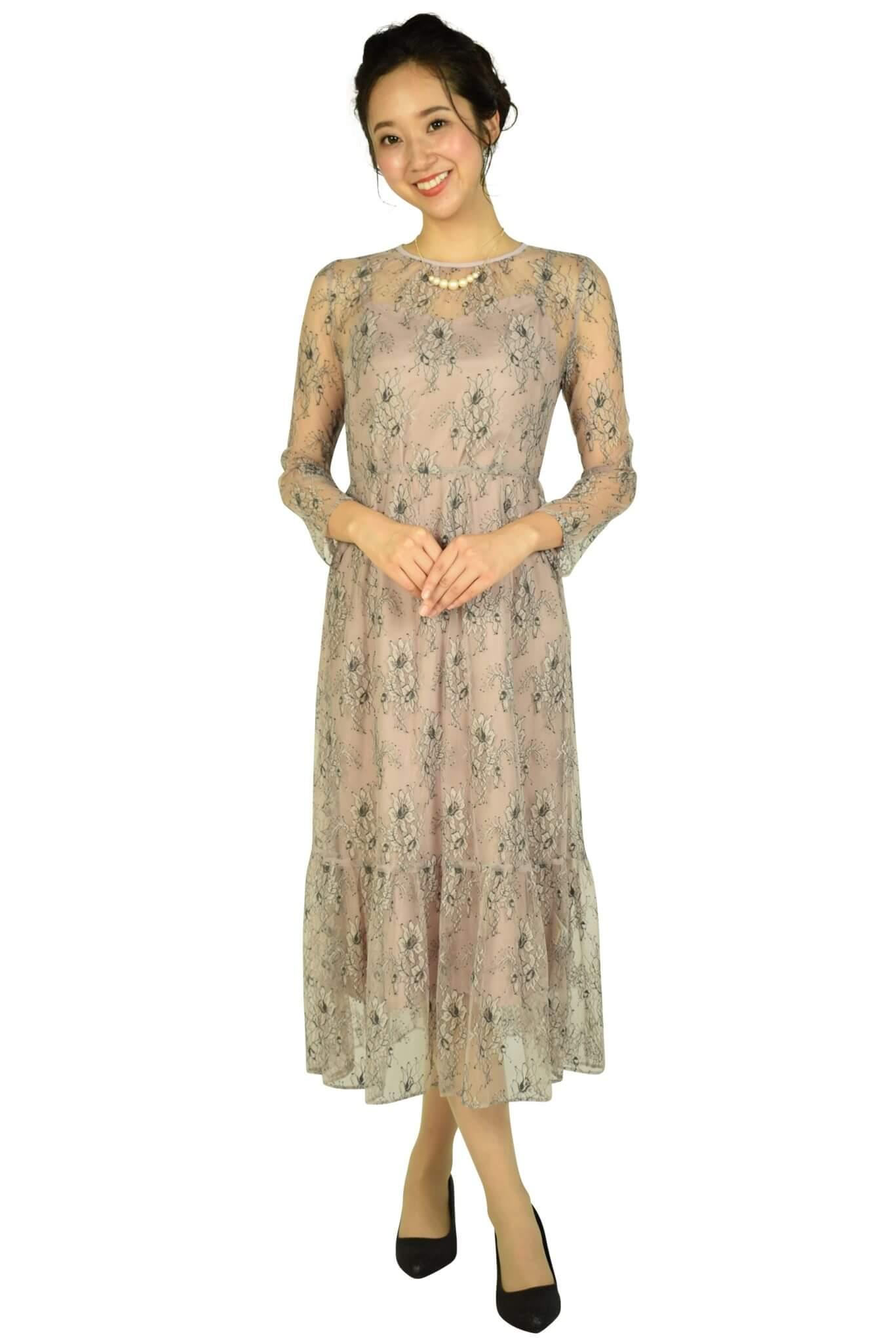カエン(Kaene) 総レースダスティーピンクドレス