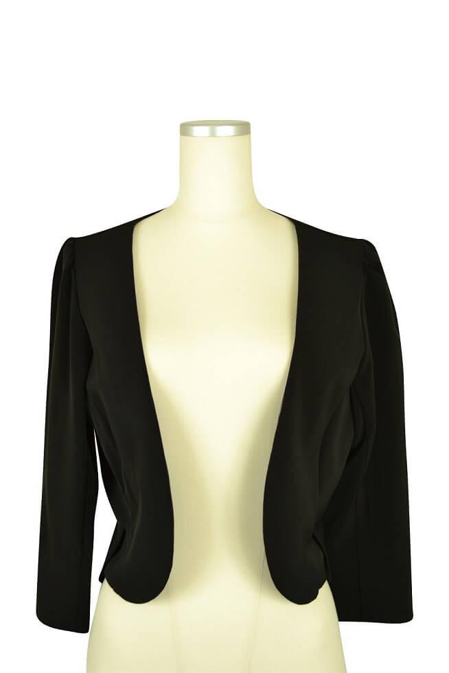パルムドール(PALME D'OR)シンプル7分袖ブラックジャケット