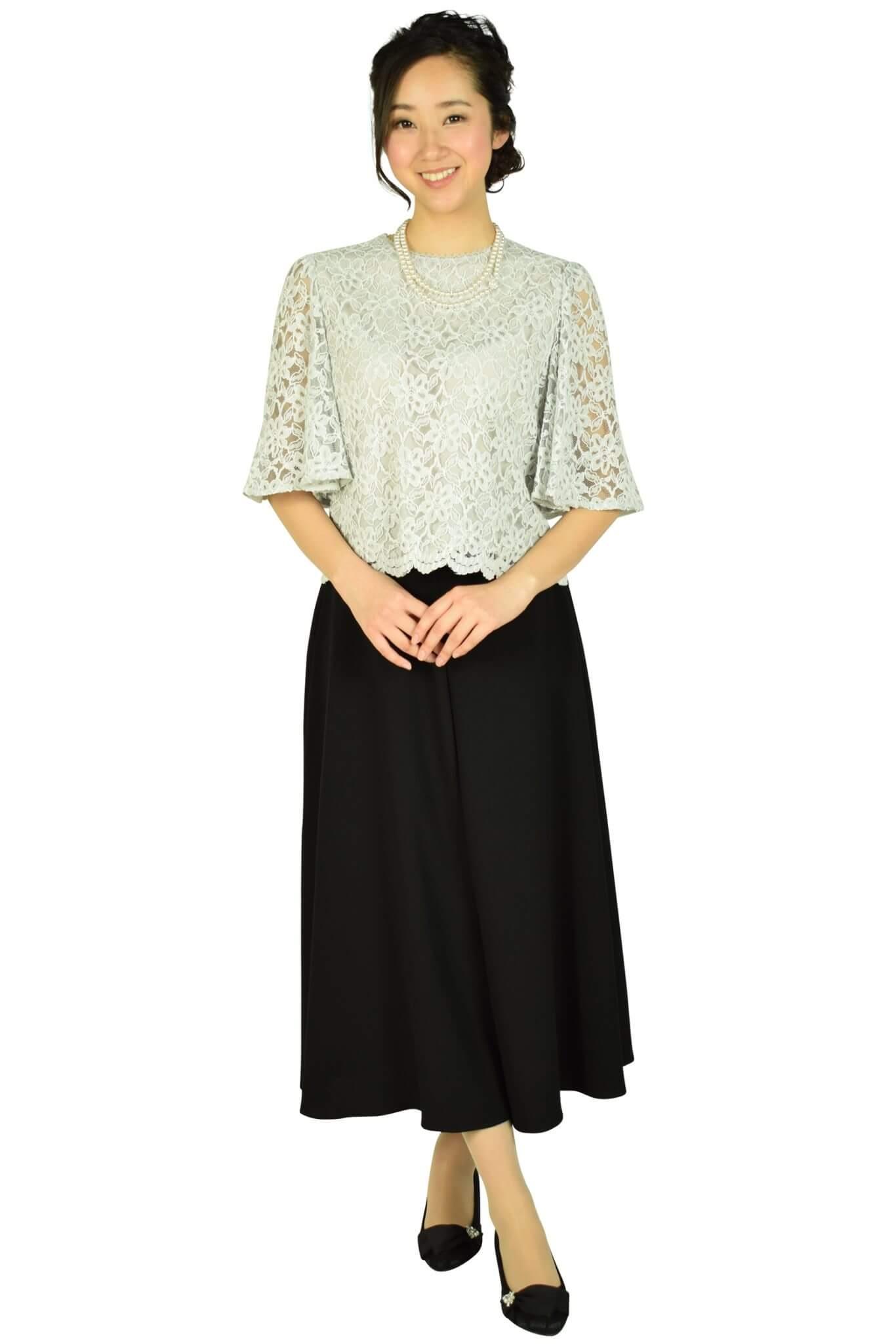 クミキョク (組曲)ライトグレーレース×ブラックワイドパンツドレス
