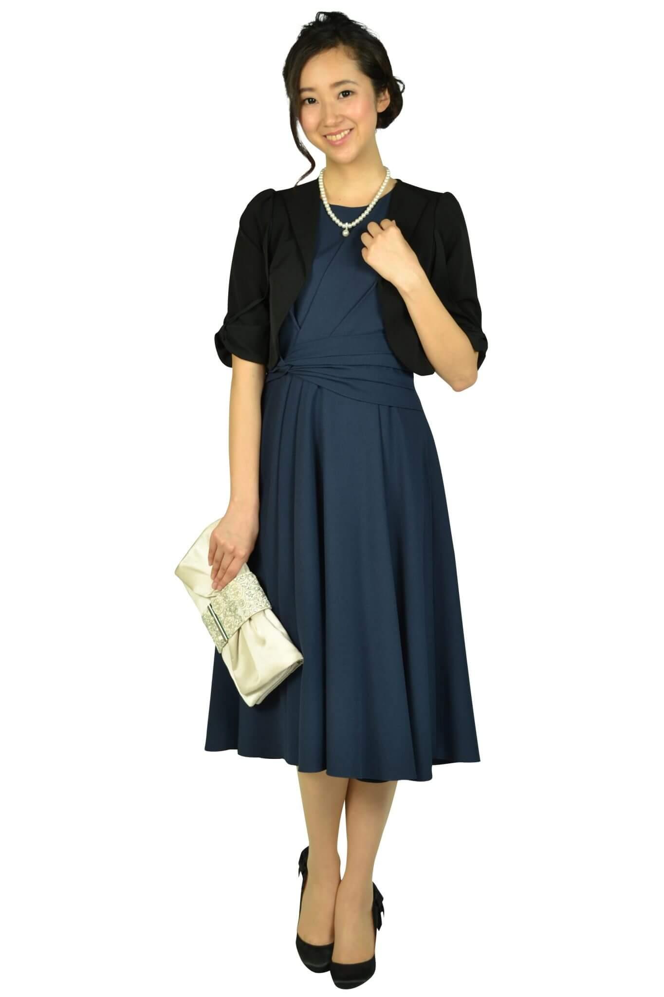 アナトリエ(anatelier) ウエストマーク編み上げネイビードレス