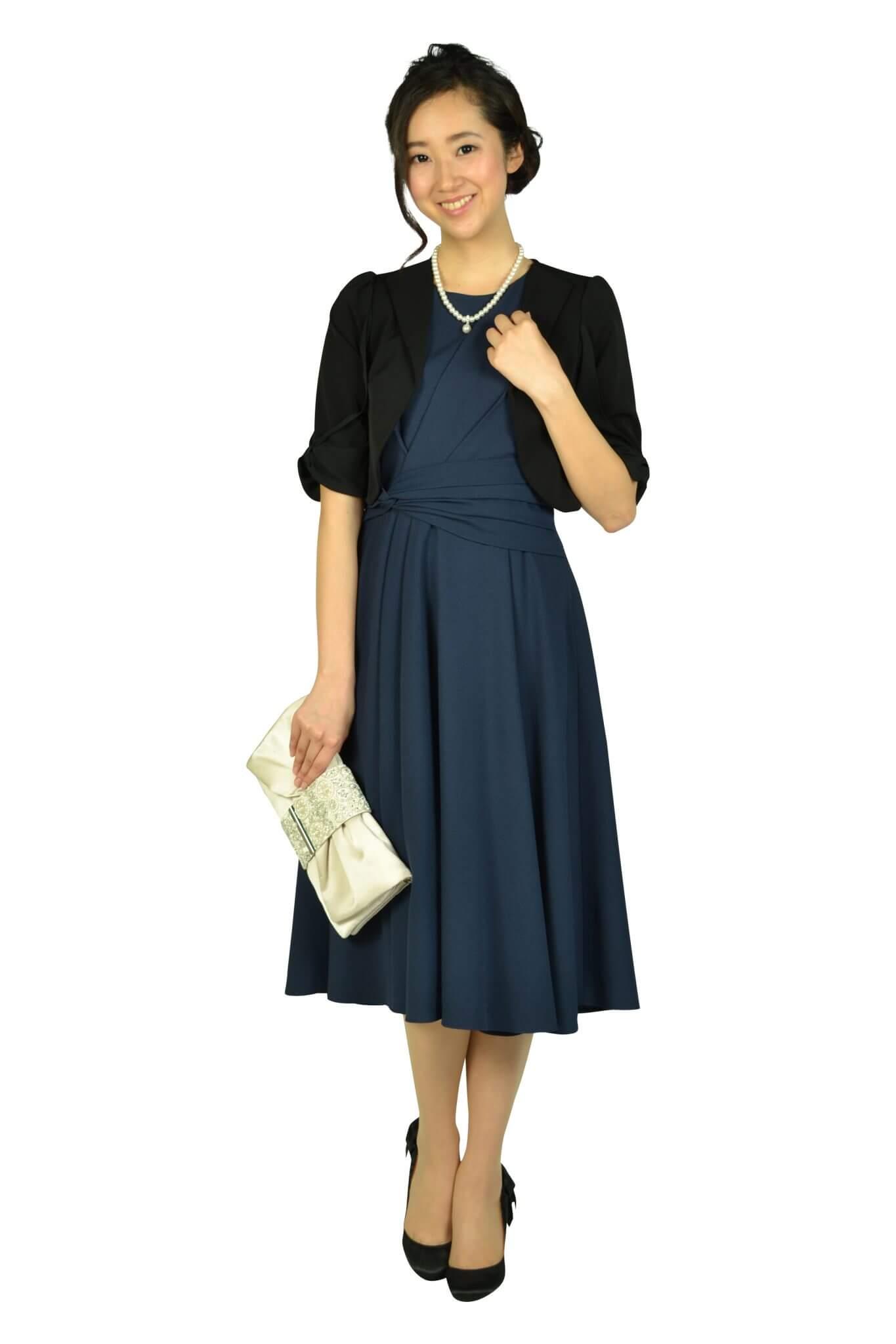 アナトリエ (anatelier)ウエストマーク編み上げネイビードレス