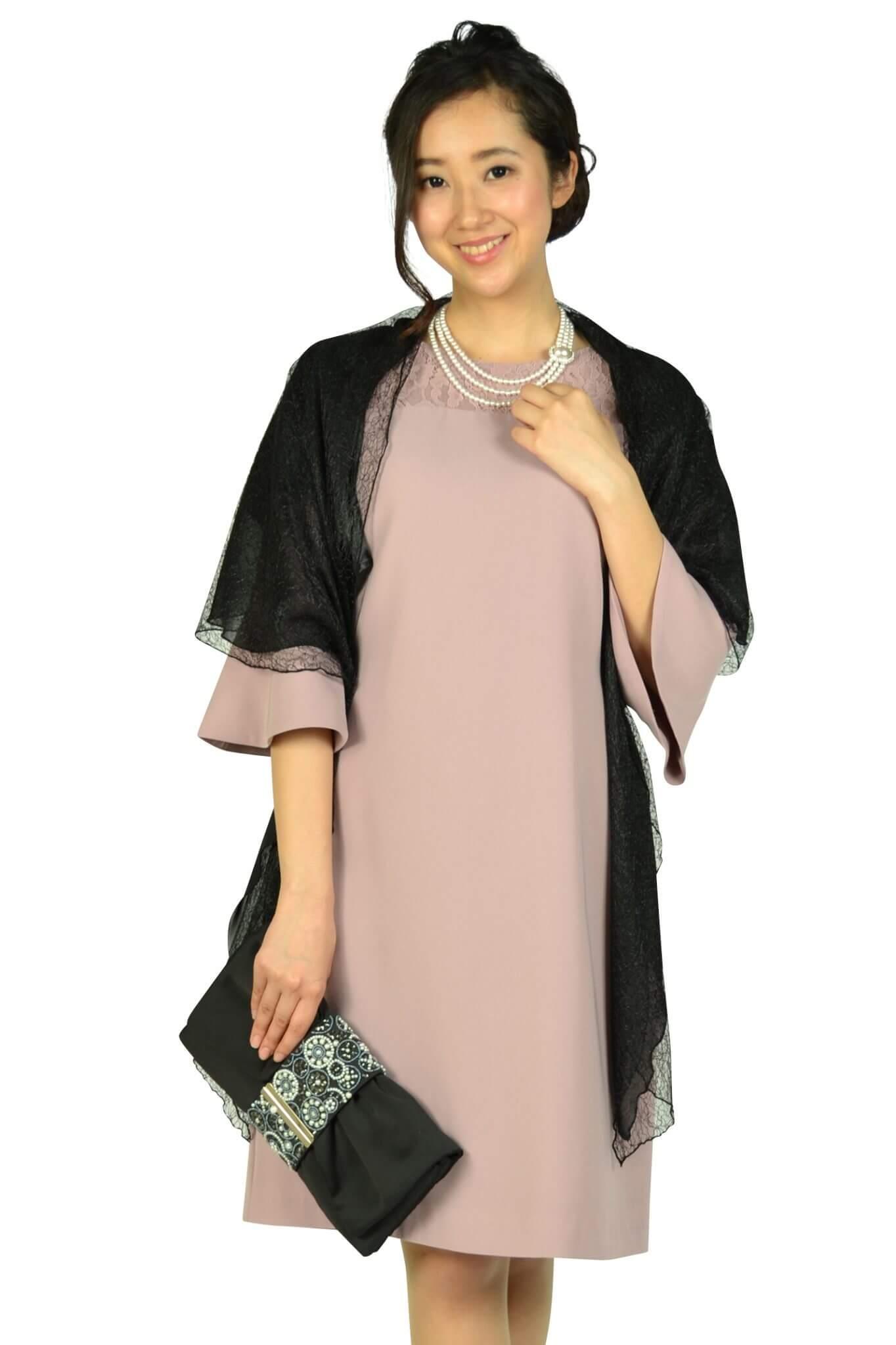 エルモソ リュクス(Hermoso luxe)異素材ベル袖ピンクドレス