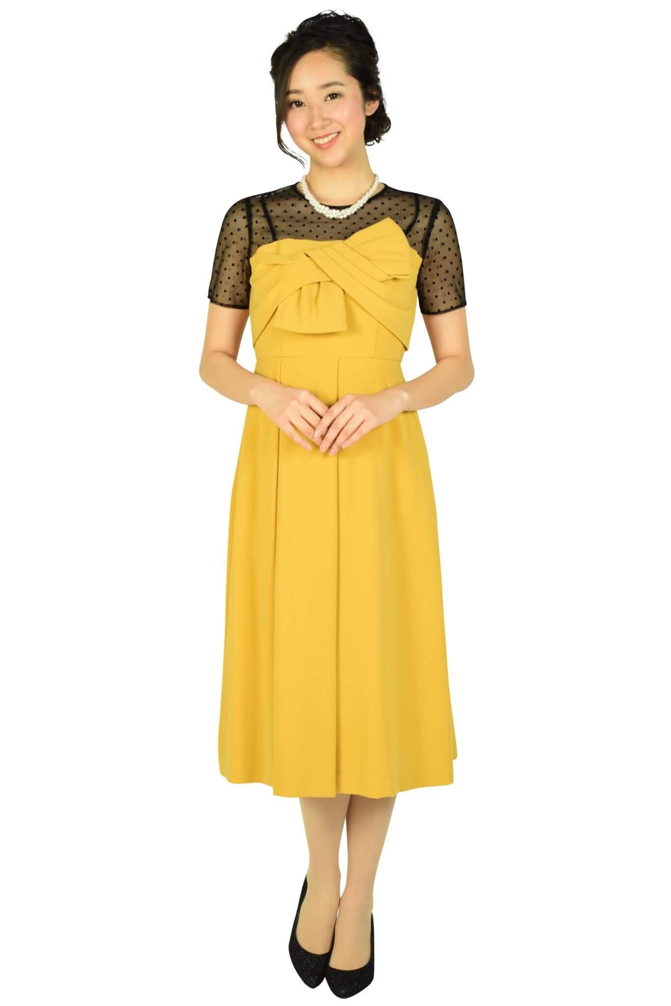 ダイアグラム(DIAGRAM)グレースコンチネンタル 袖付きドットレースマスタードドレス